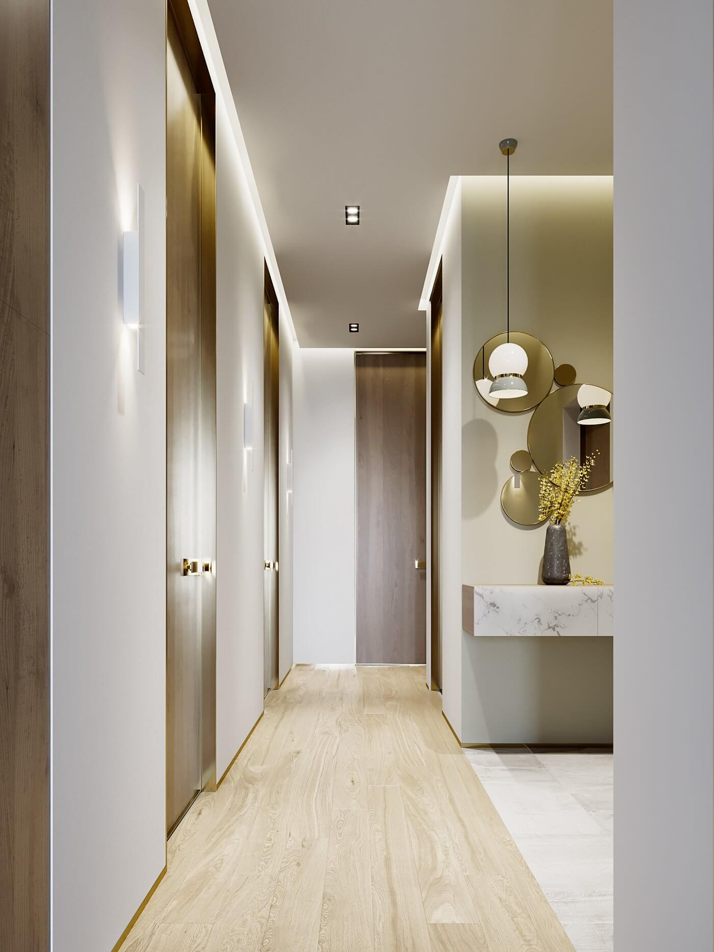 Green gold Apartment entrance corridor - cgi visualization