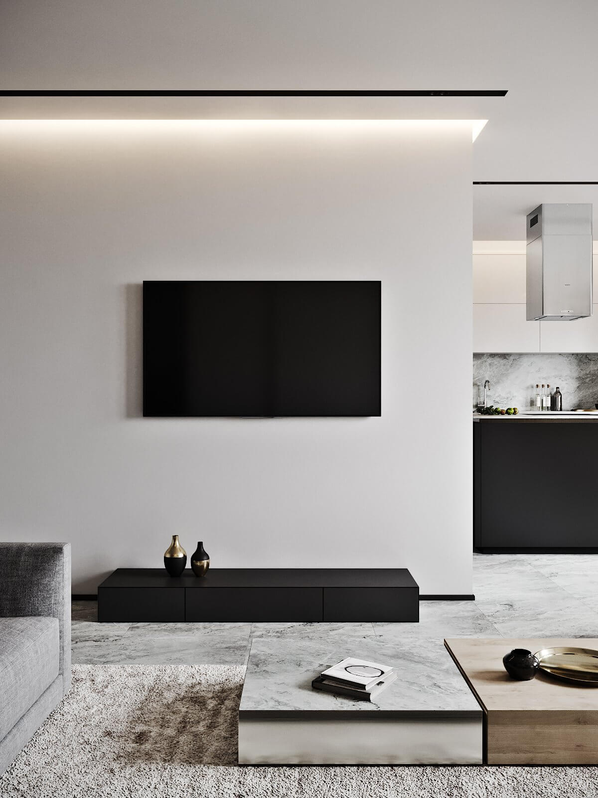 Modern Tenderness Flat classic living room area tv wall - cgi visualization