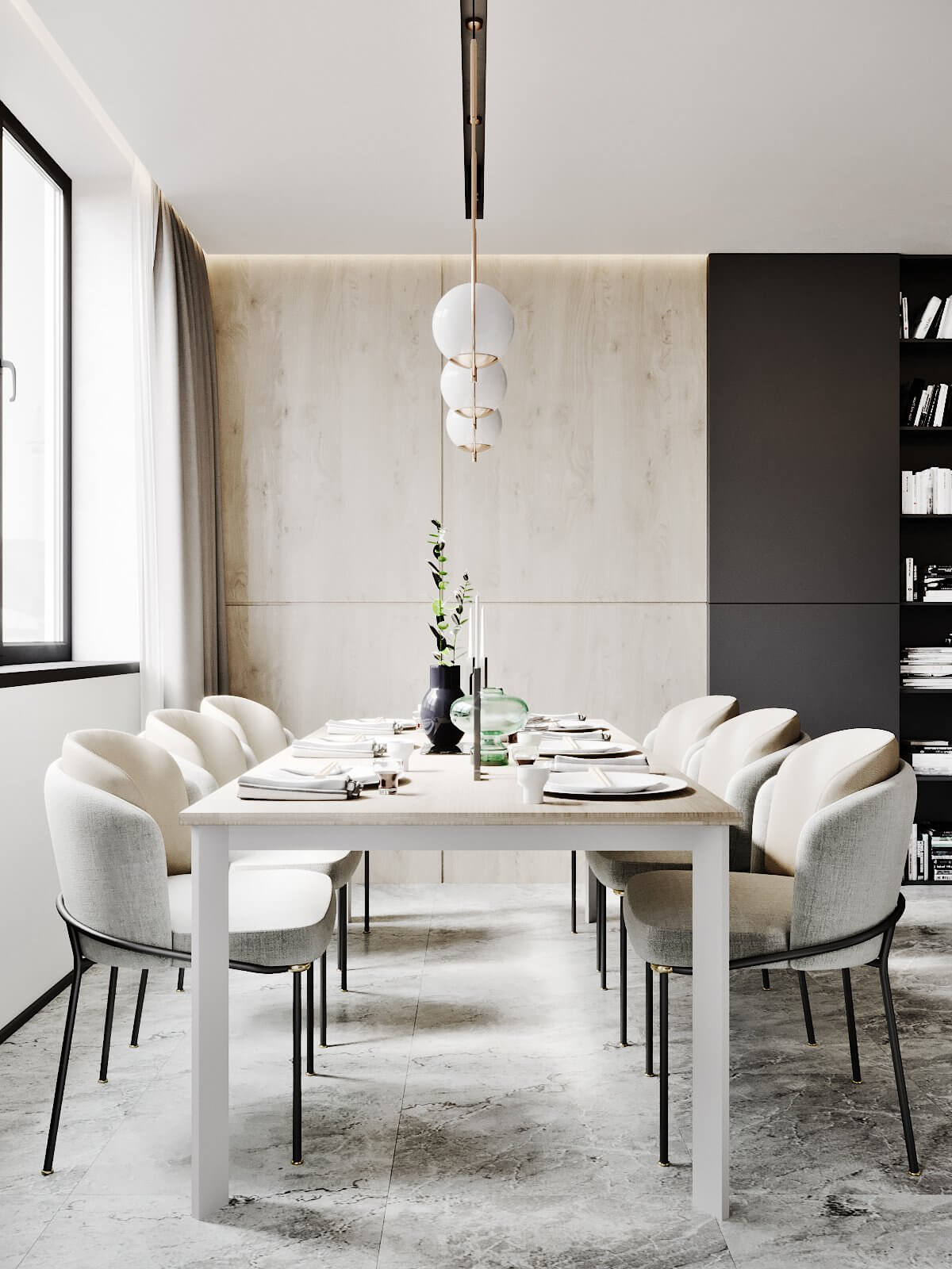 Modern Tenderness Flat modern dining room area - cgi visualization