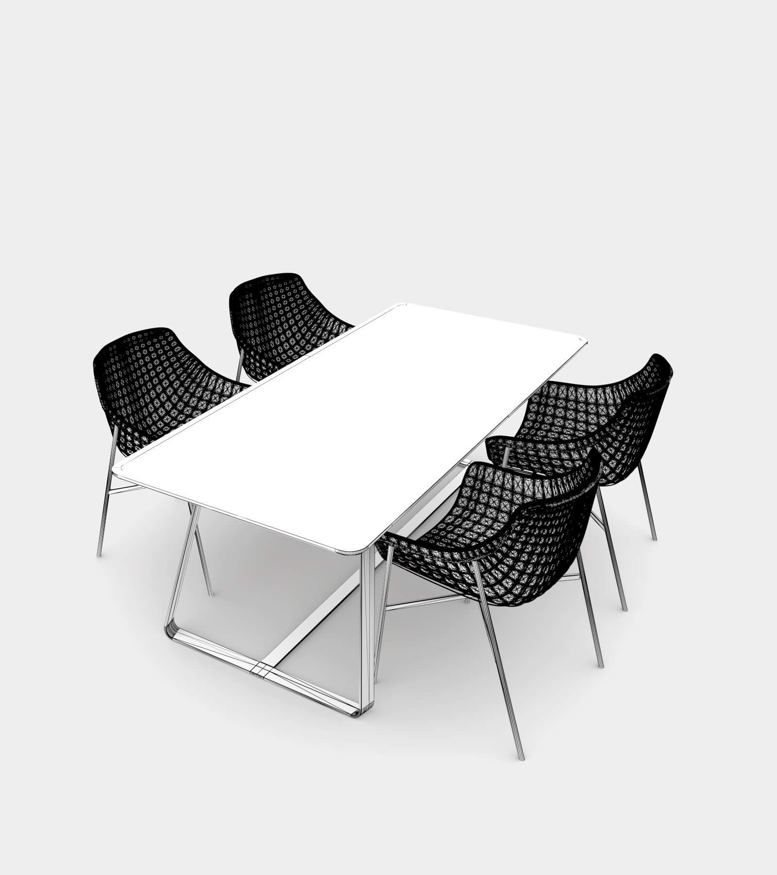 Outdoor Dining Set 01-wire-3D Model