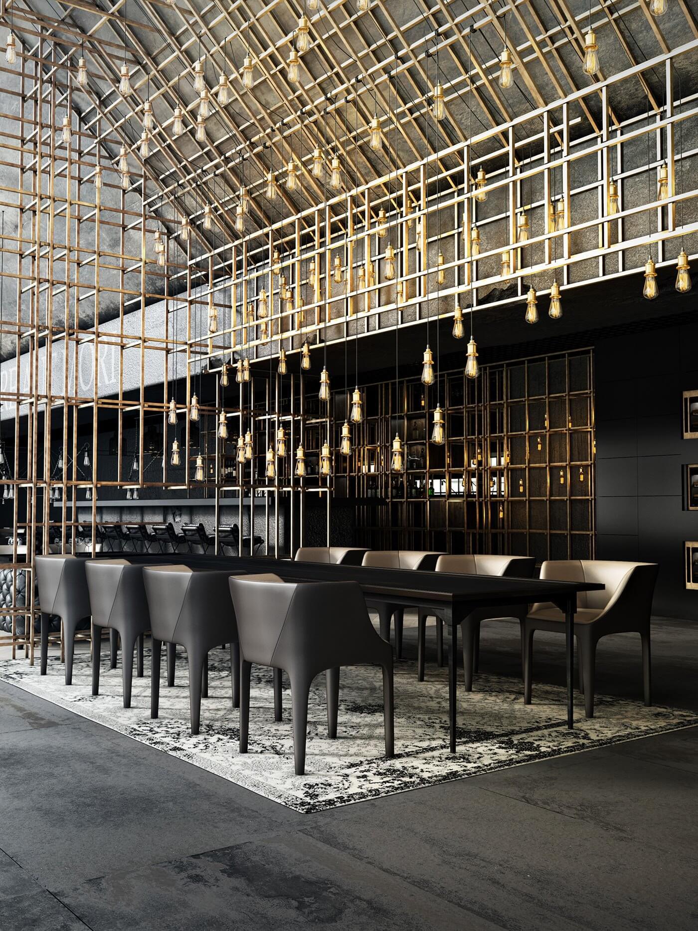Restaurant Aut vincere aut mori dining table chair- cgi visualization