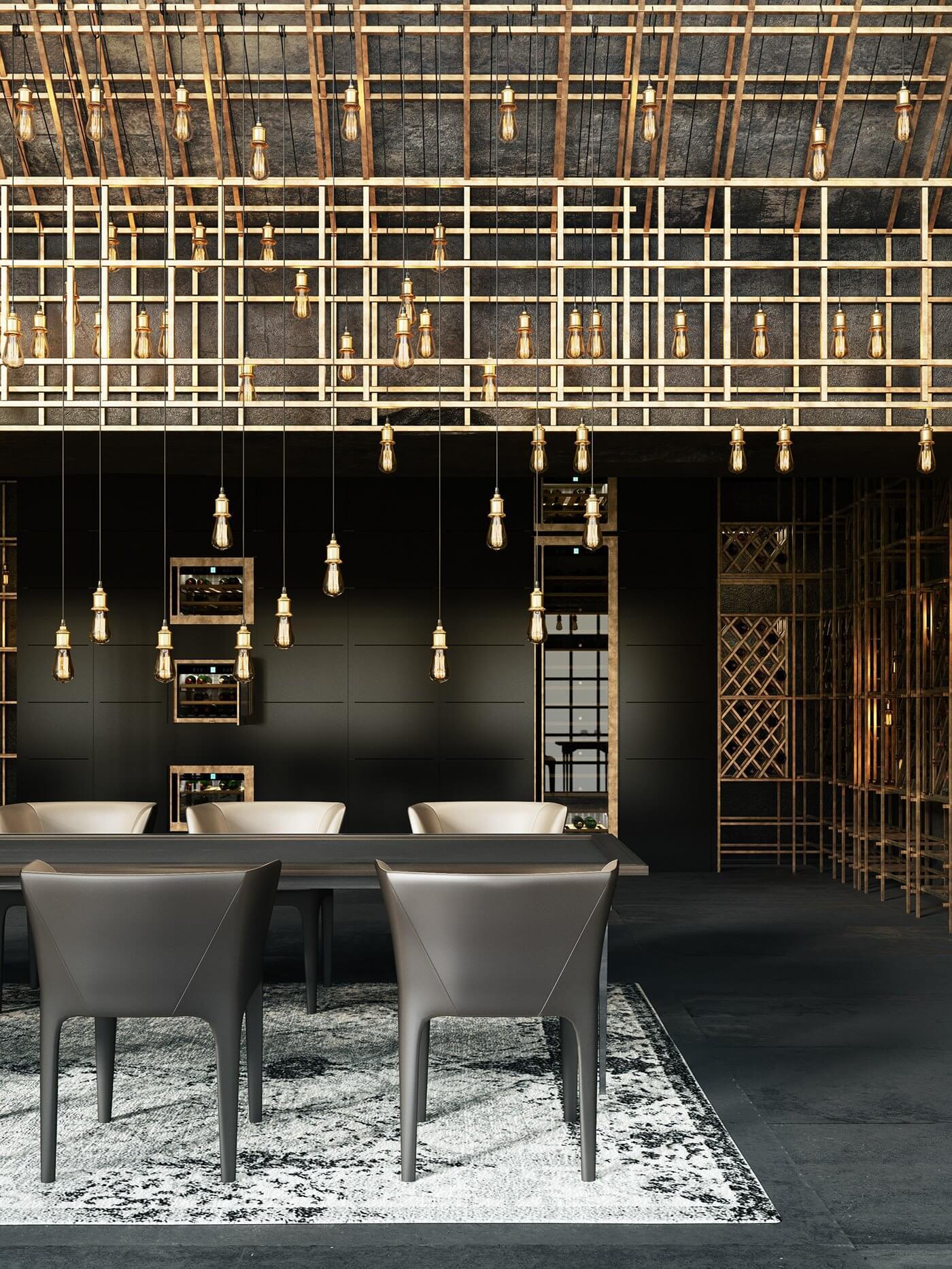 Restaurant Aut vincere aut mori dining table lamps - cgi visualization