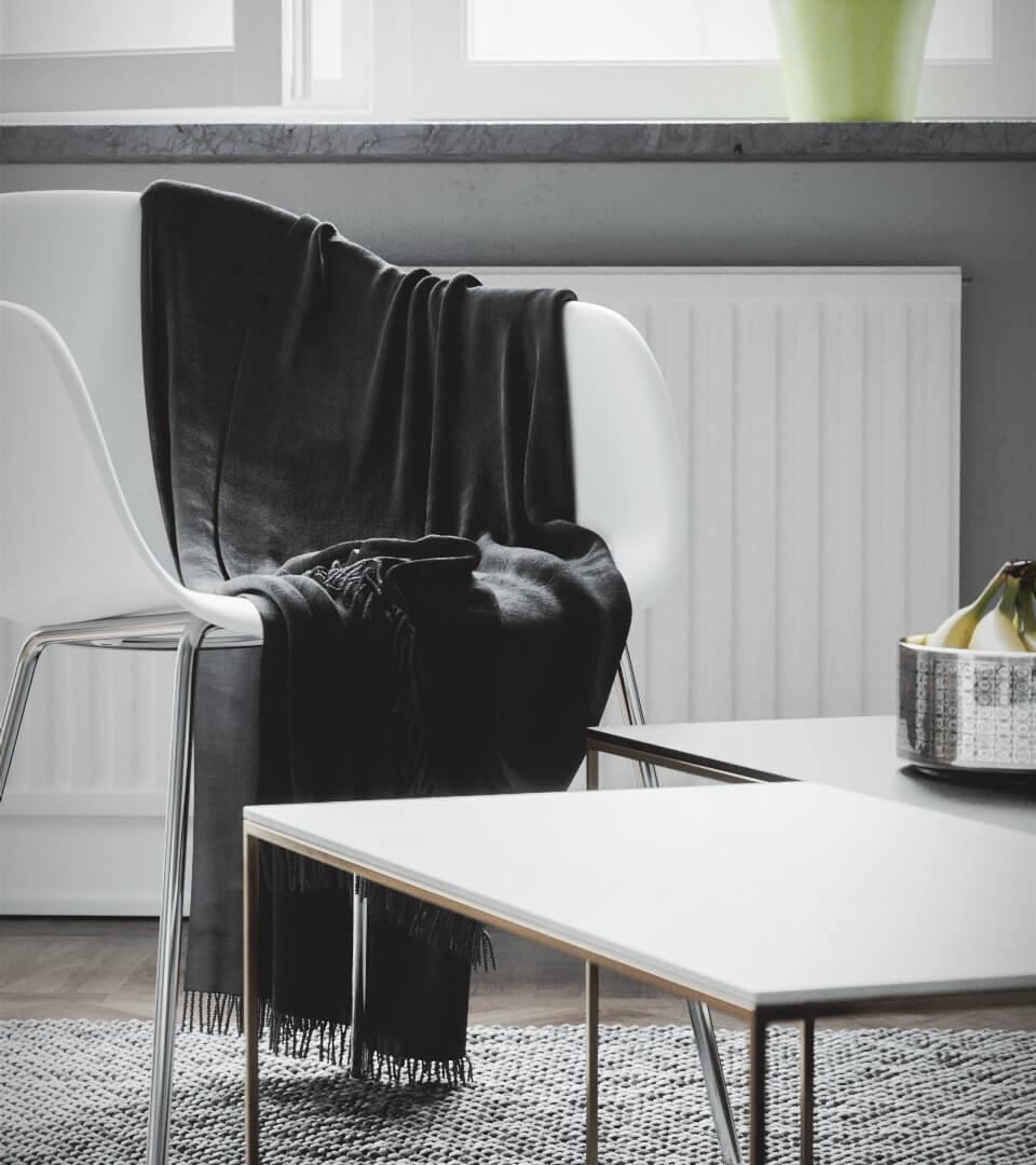 Scandinavian flat chair living room blankets - cgi visualization