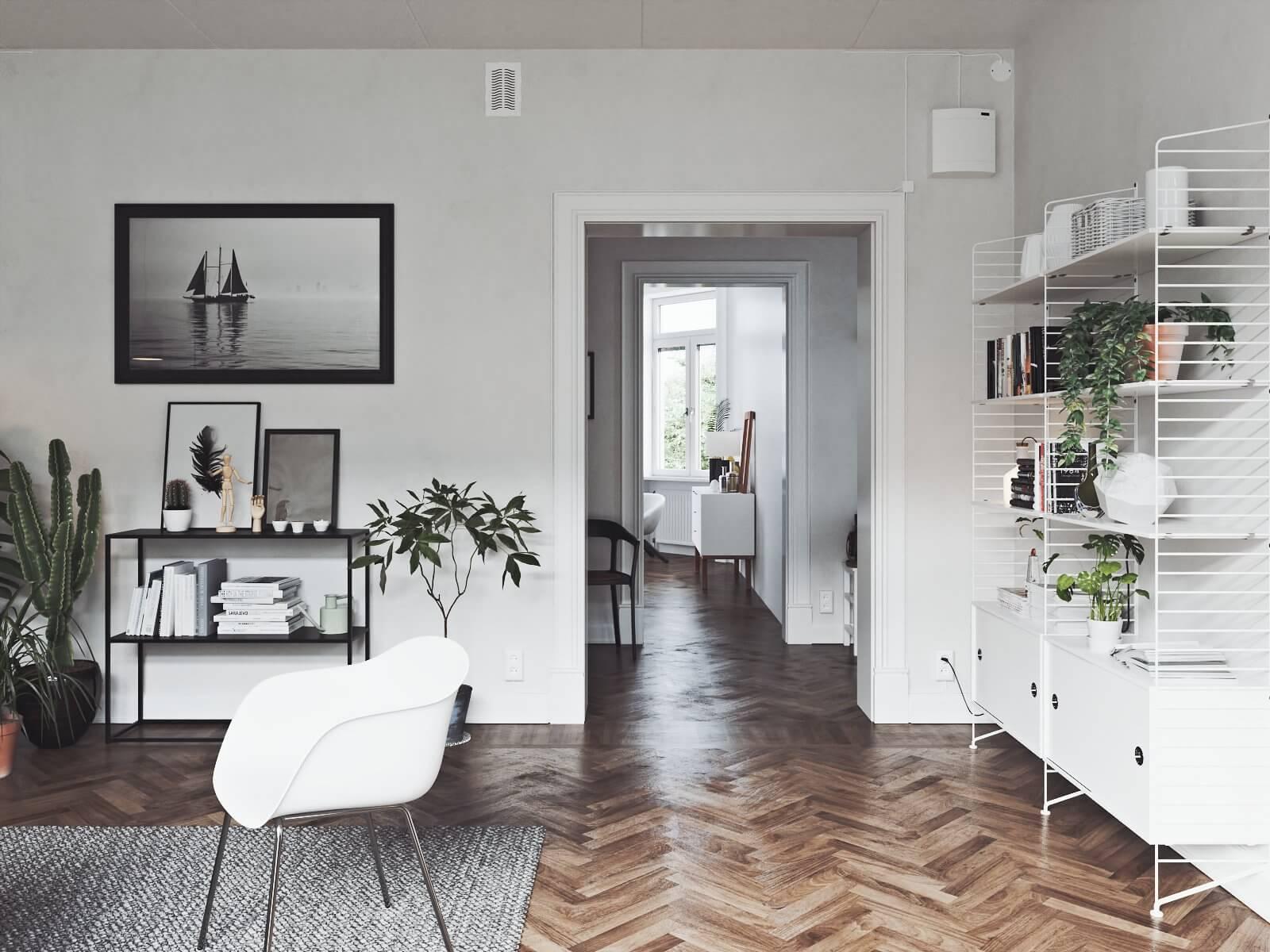 Scandinavian flat corridor - cgi visualization