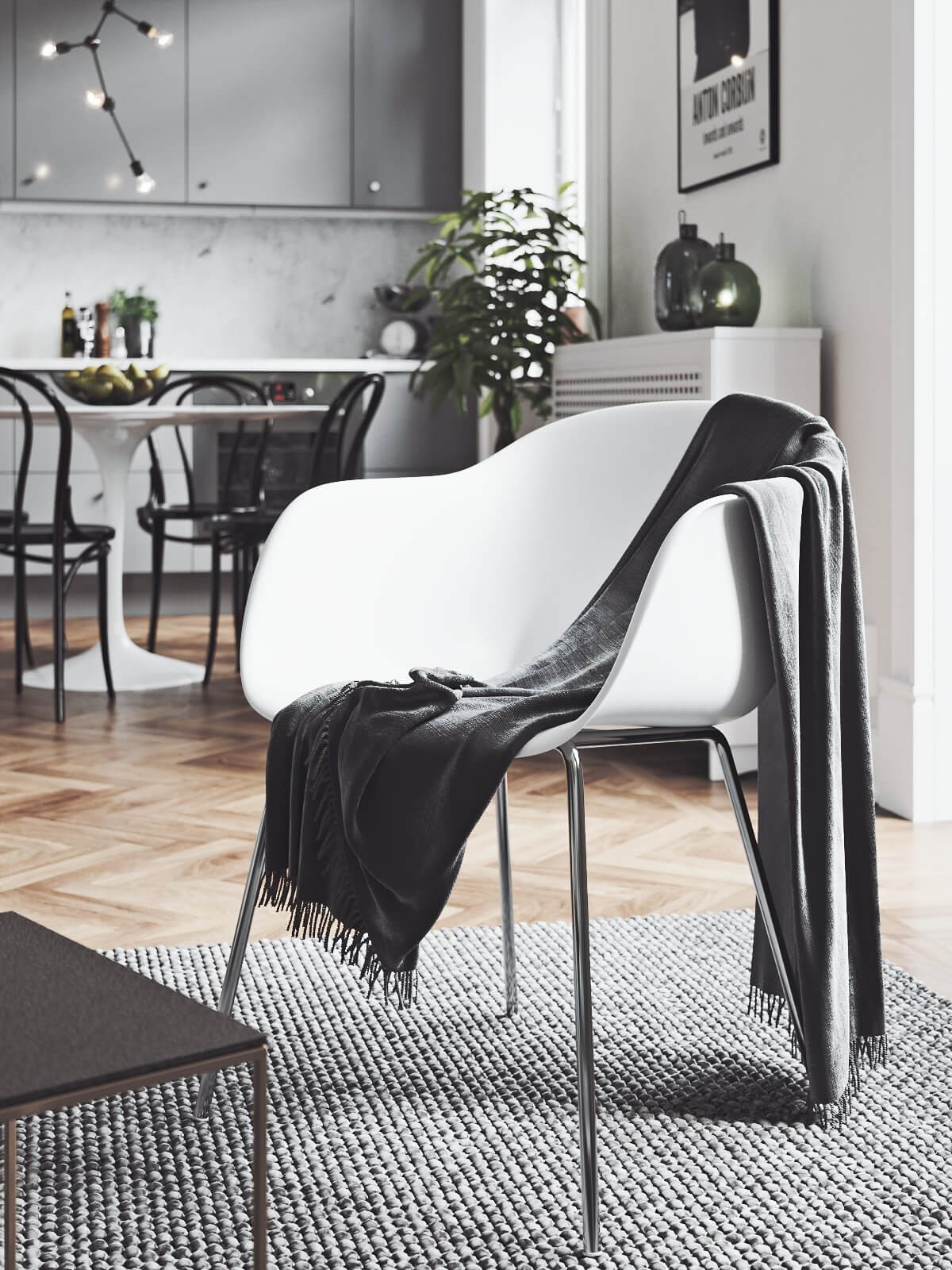 Scandinavian flat detail chair blankets 2- cgi visualization