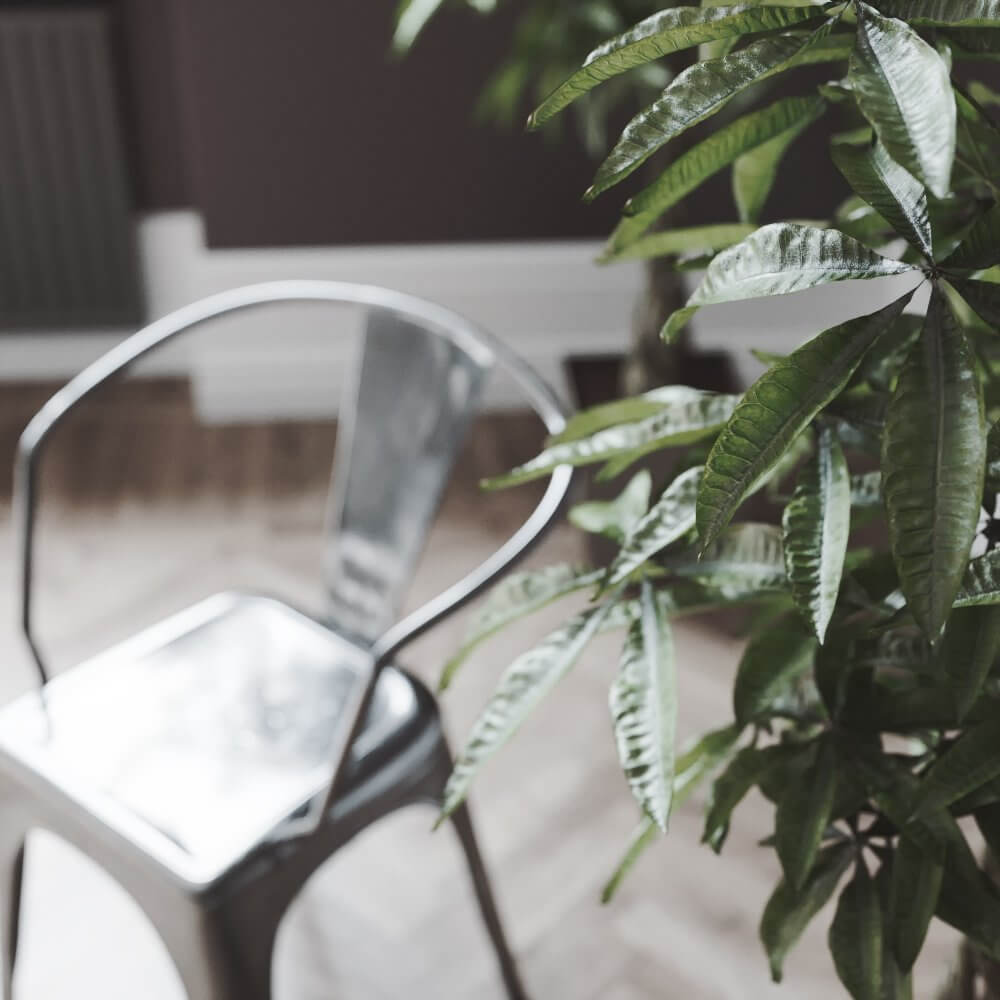 Scandinavian flat detail plant chair - cgi visualization