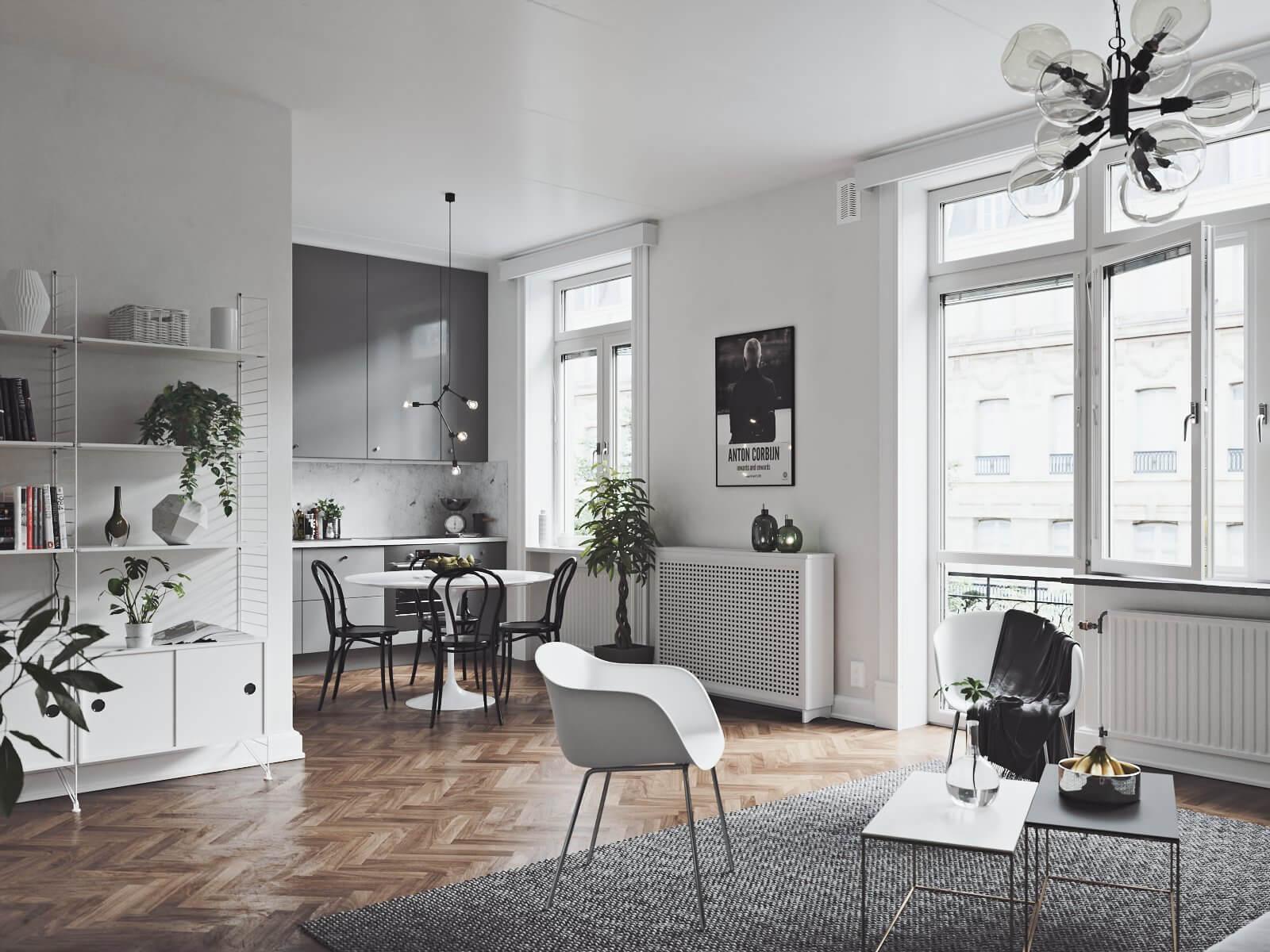 Scandinavian flat kitchen dining room - cgi visualization