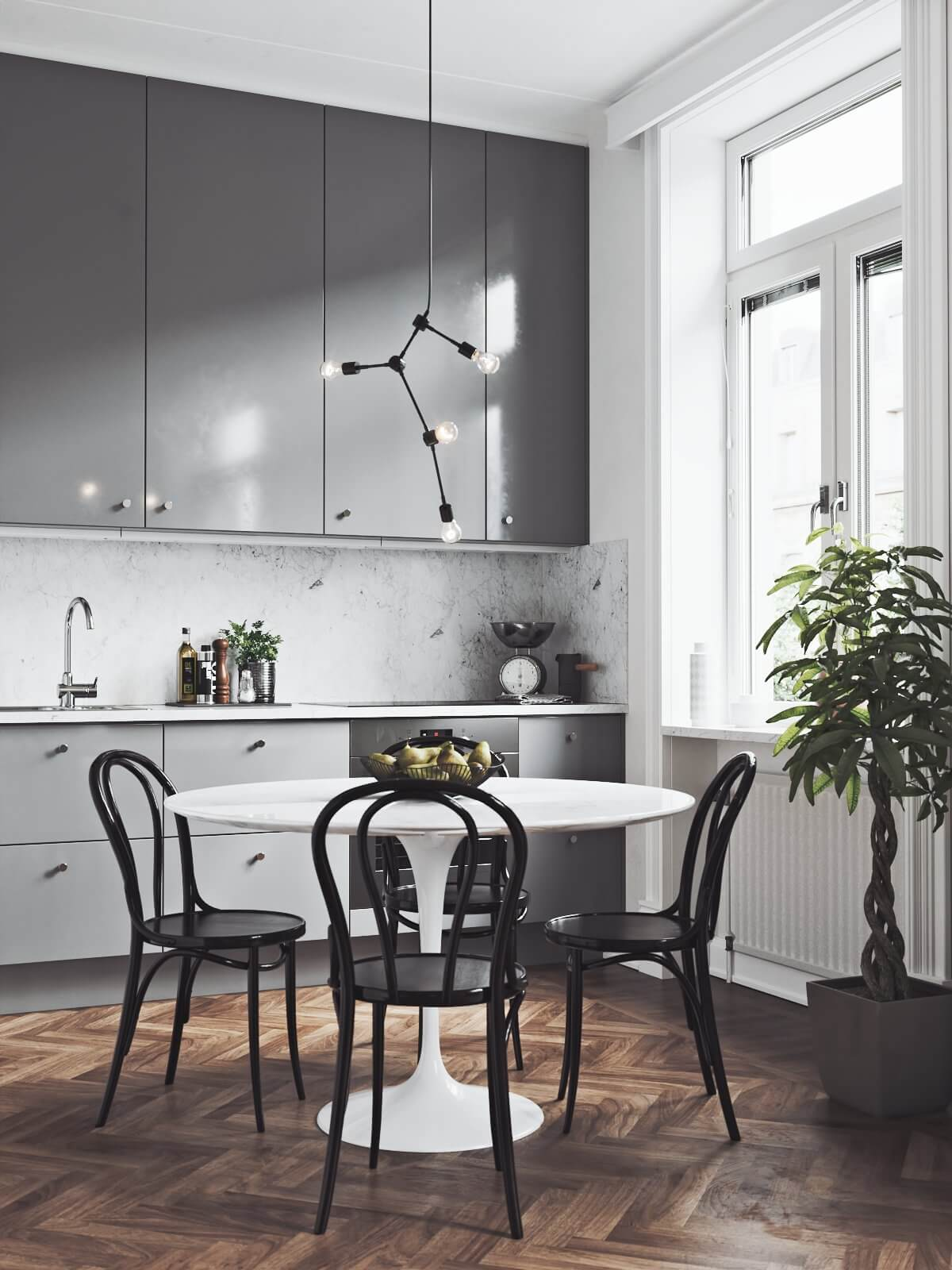 Scandinavian flat kitchen dining table - cgi visualization