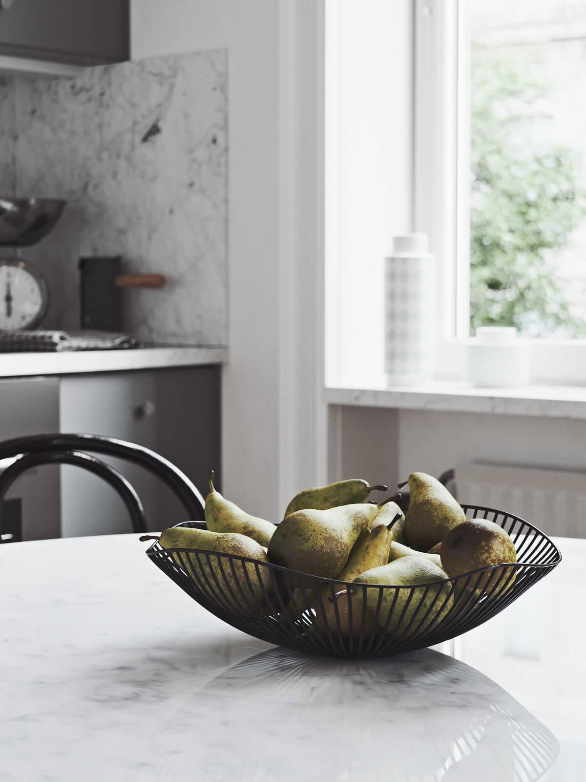Scandinavian flat kitchen dining table fruits - cgi visualization