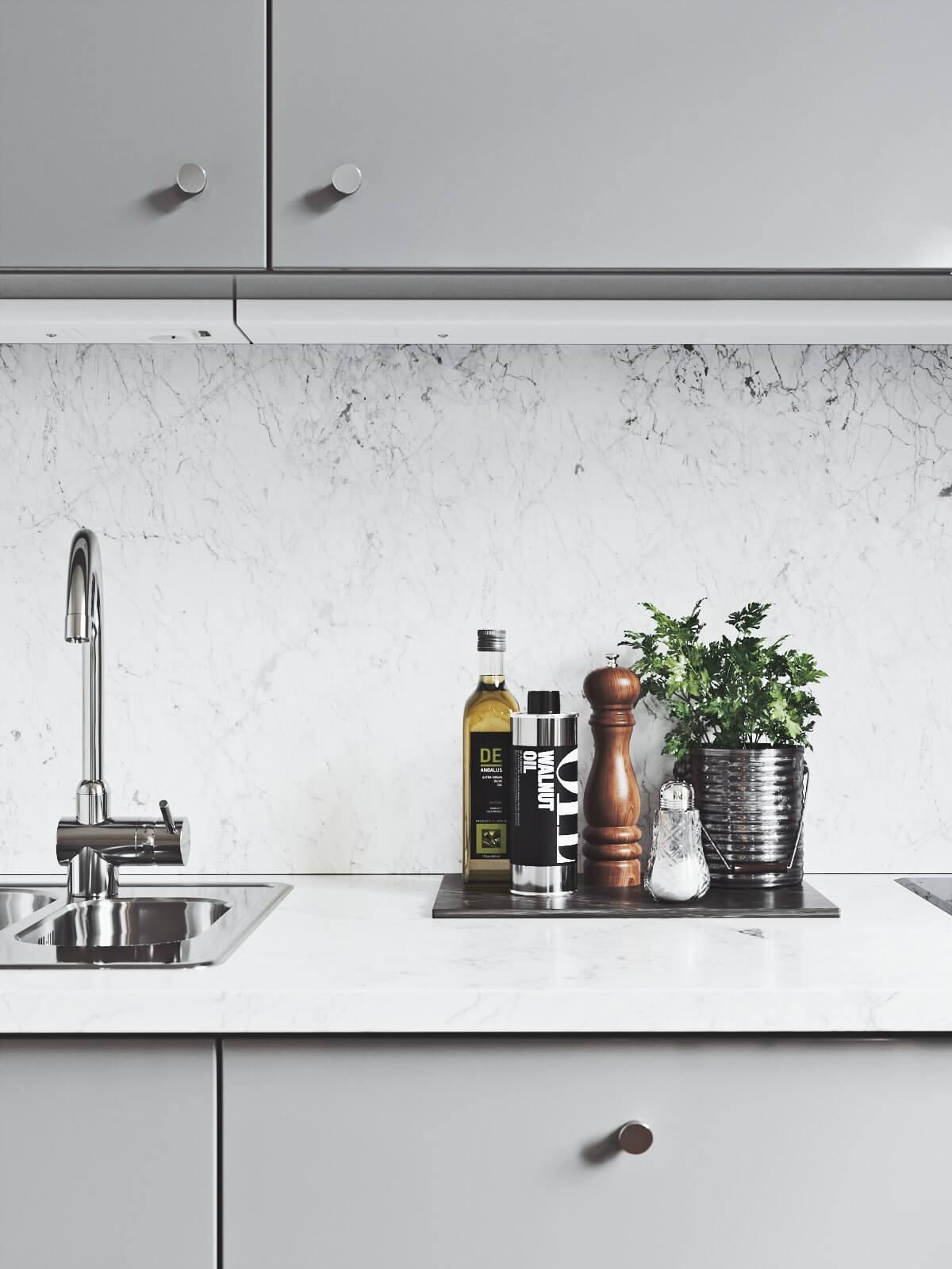 Scandinavian flat kitchen mixer - cgi visualization
