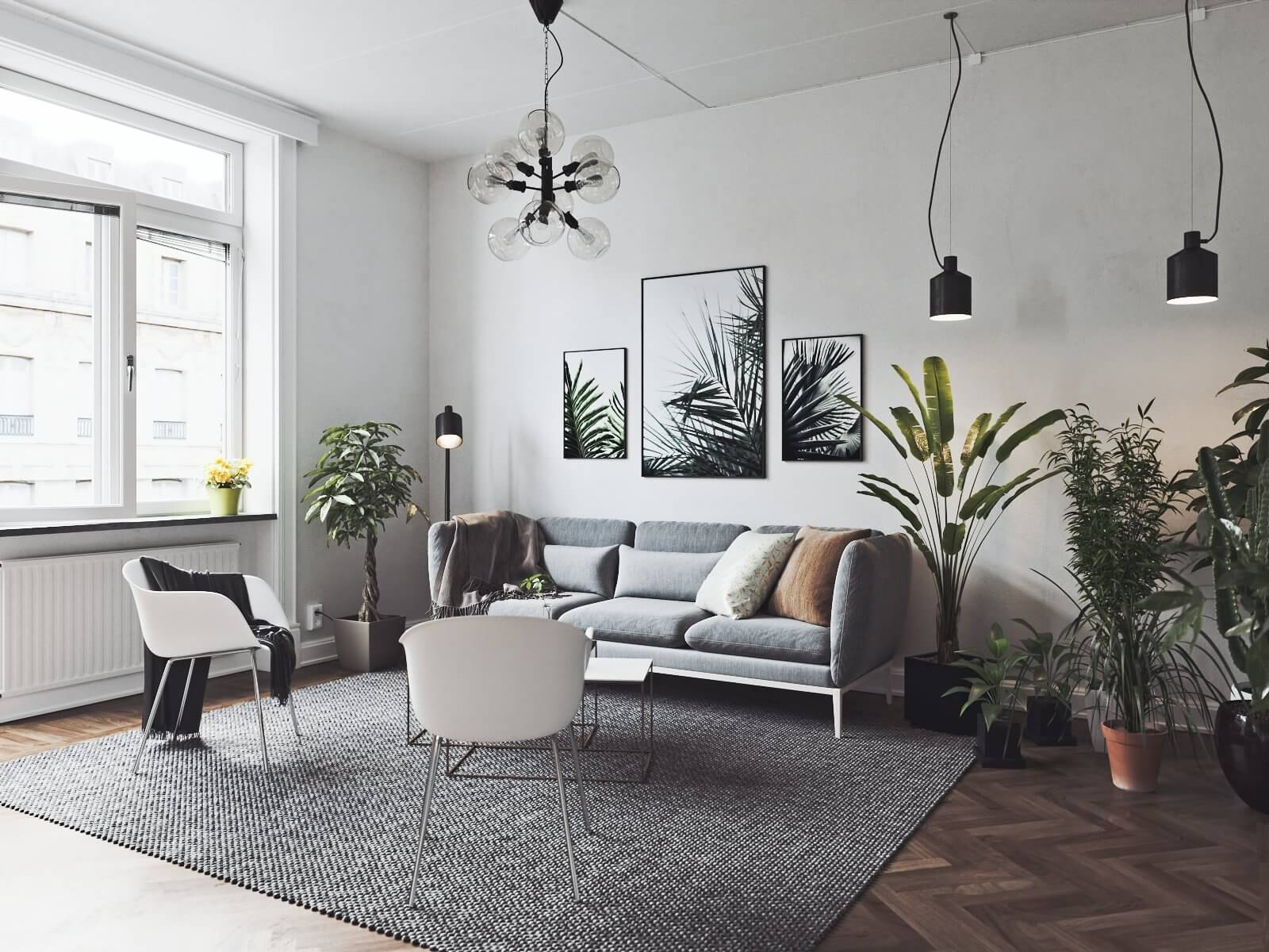 Scandinavian flat living room 2 - cgi visualization