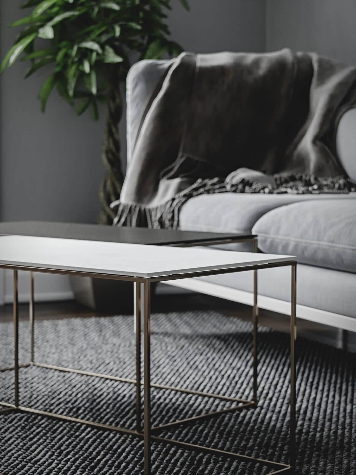 Scandinavian flat living room side table - cgi visualization