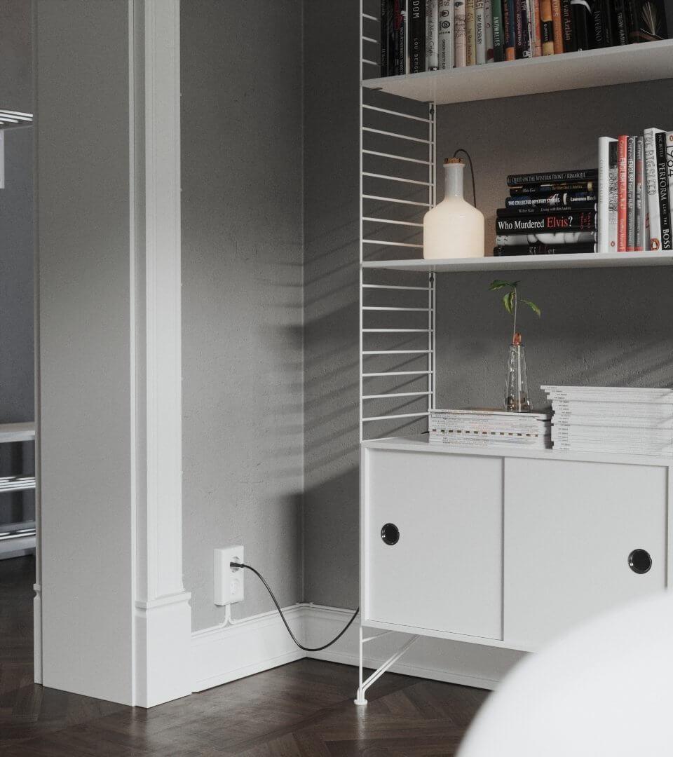Scandinavian flat wall shelve socket - cgi visualization
