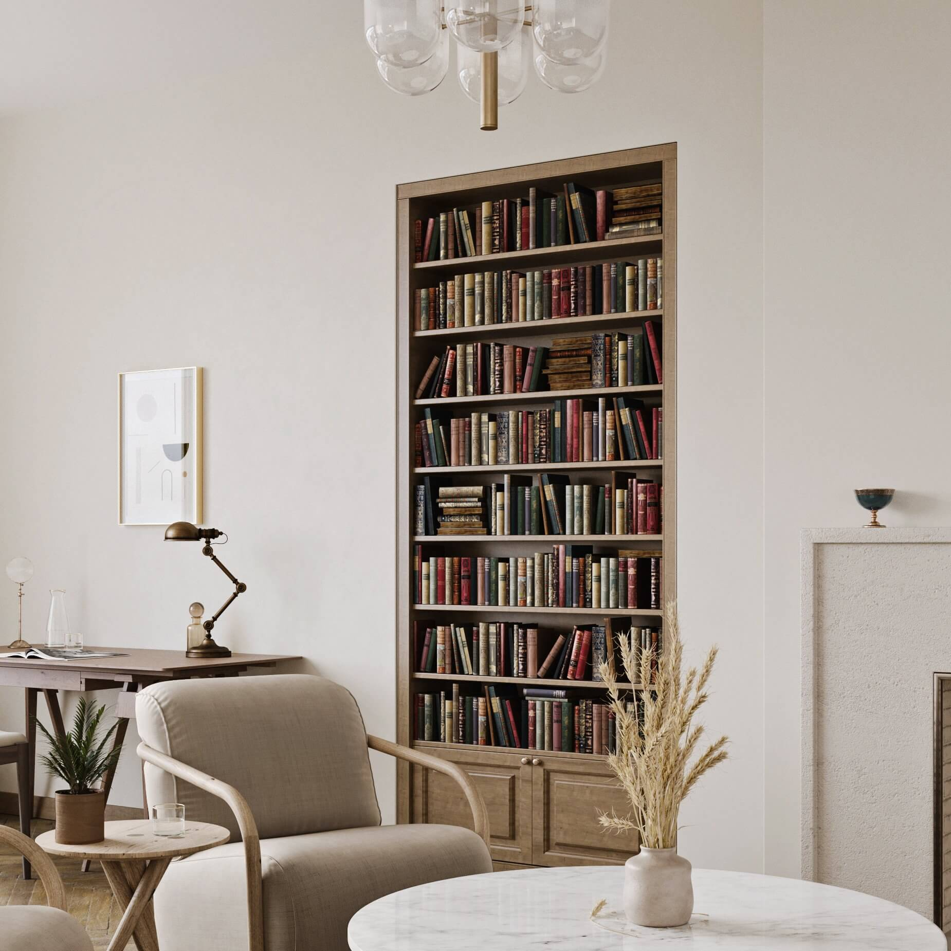 Cozy and modern apartment design living room bookshelve