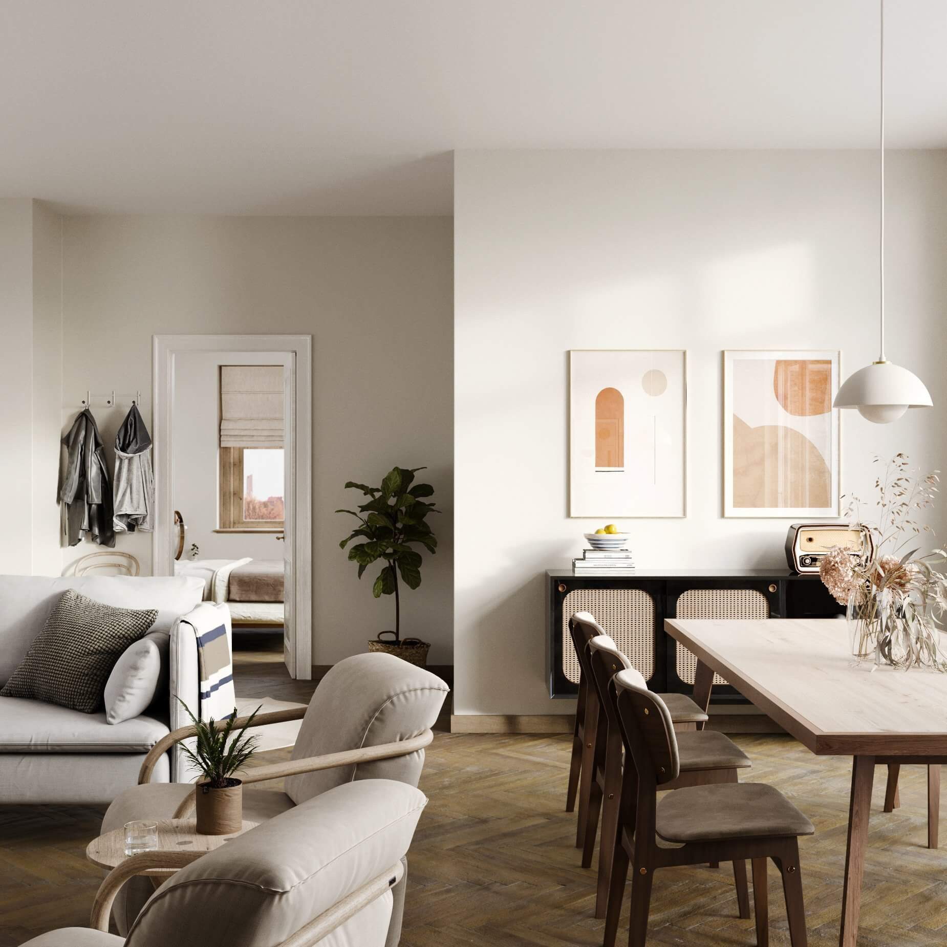 Cozy and modern apartment design living room dining room