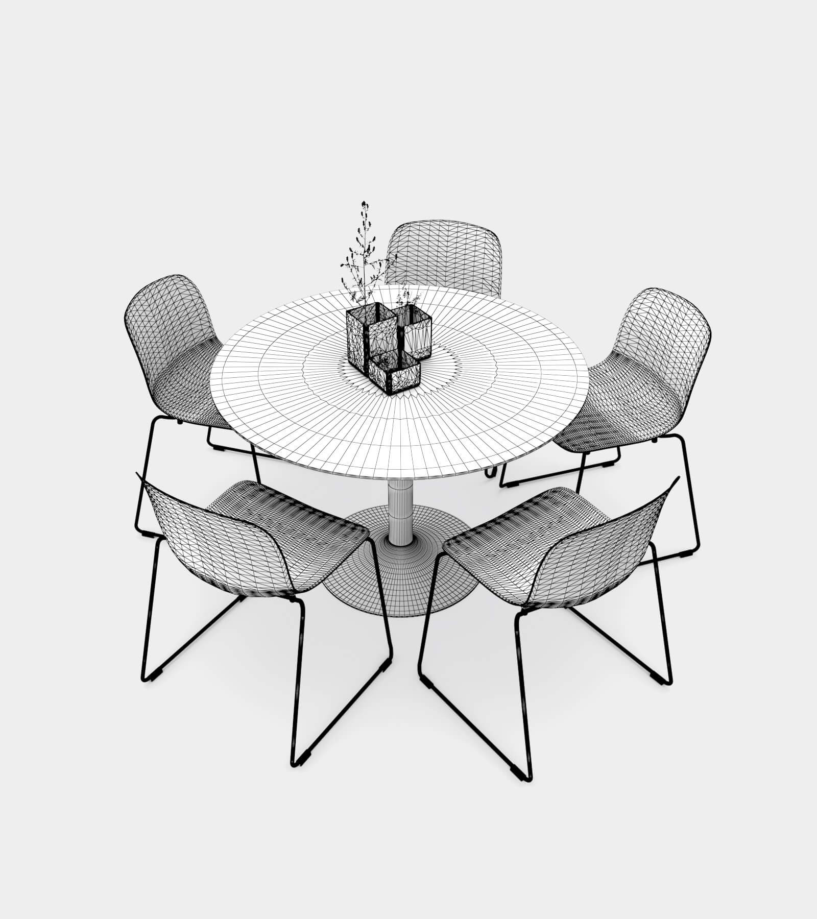 Dining Set 01-wire-3D Model