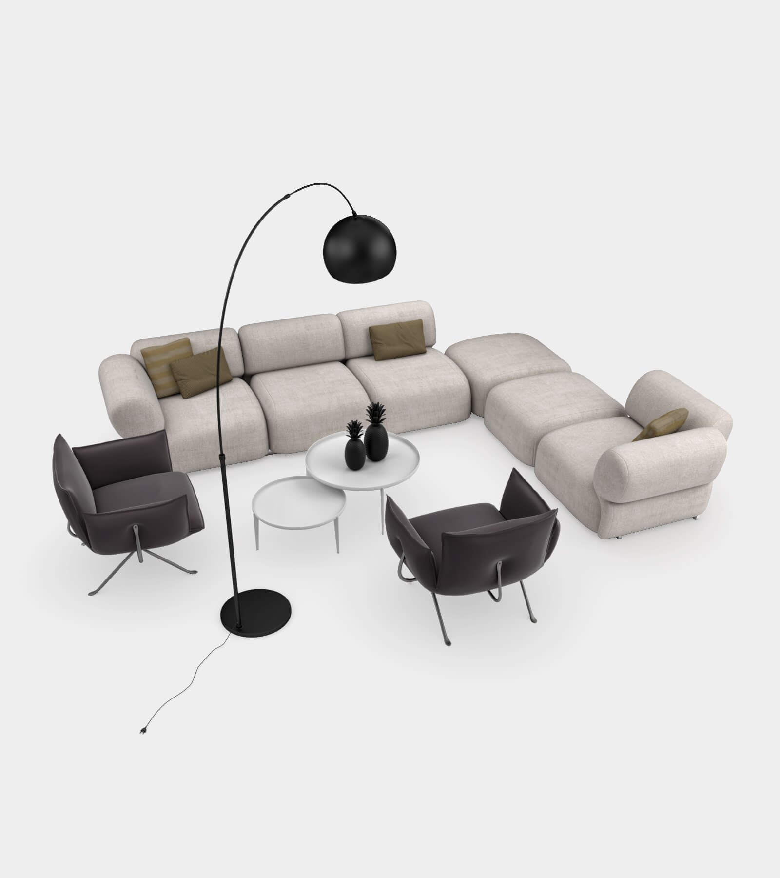Living room couch set 2-1-3D Model