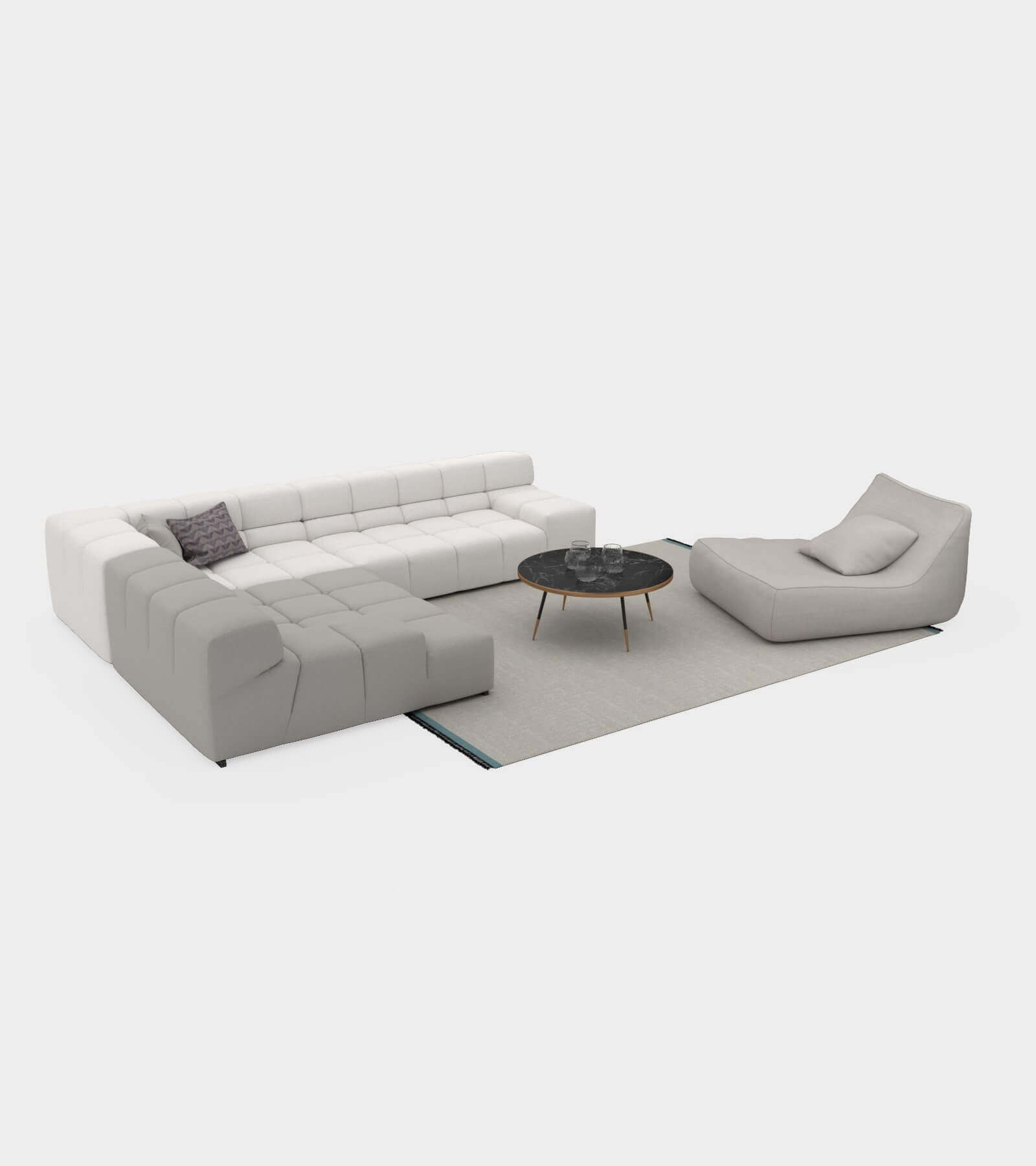 Living room couch set-2-1-1 3 D Model