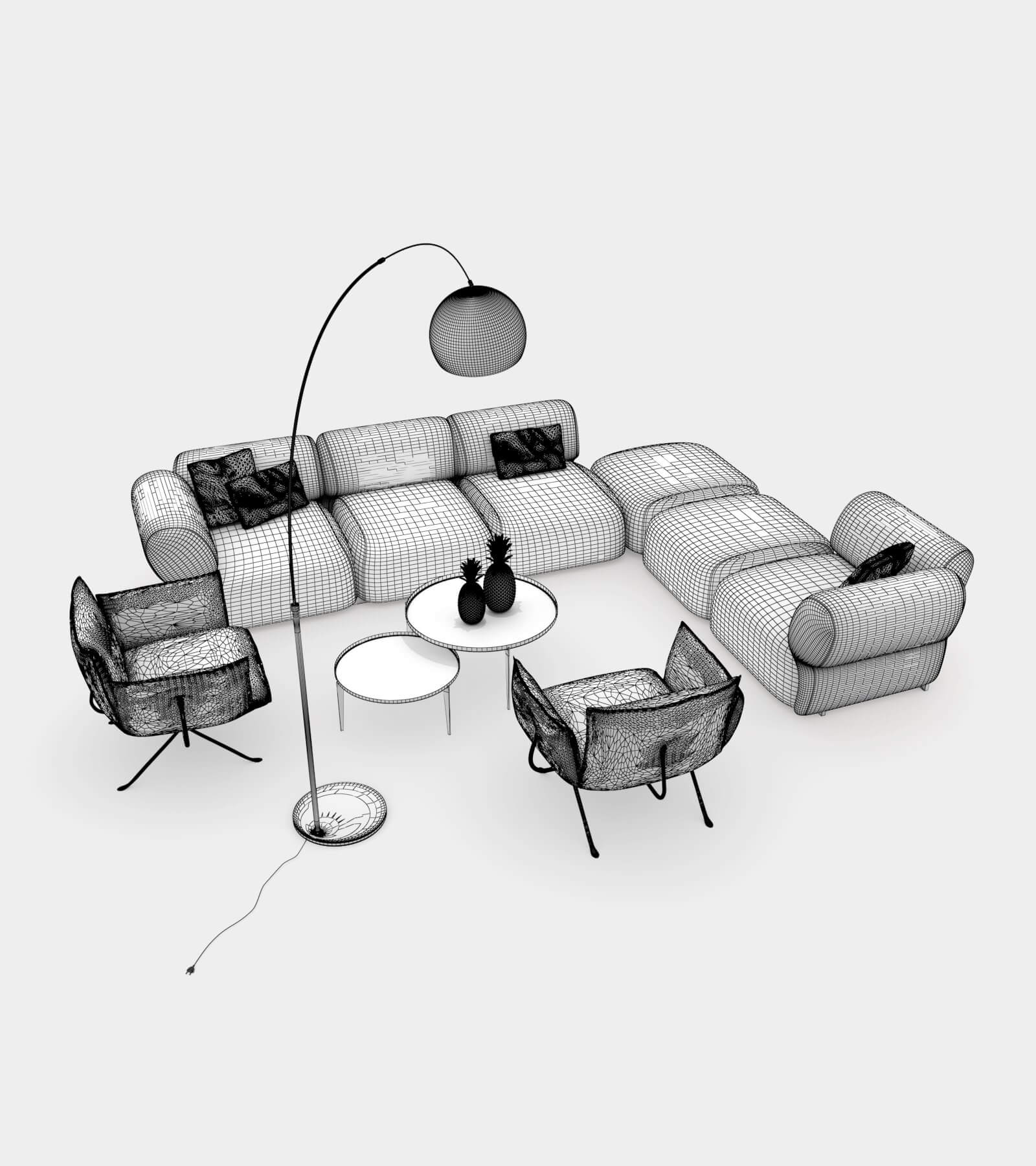 Living room couch set 2-1-wire 3D Model