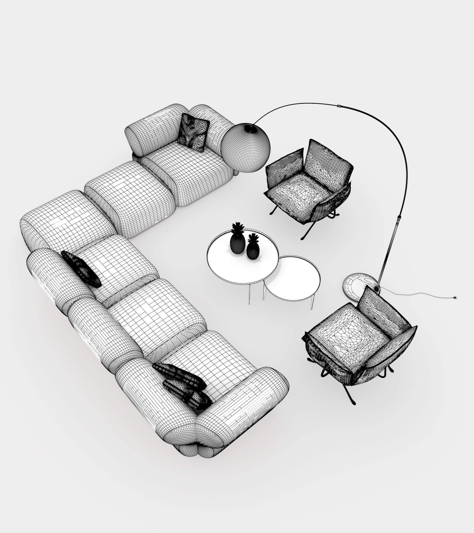 Living room couch set 2-2-wire 3D Model