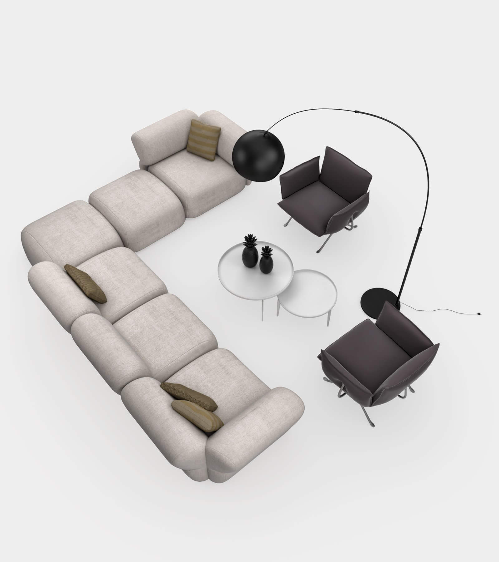 Living room couch set 2-2 3 D Model