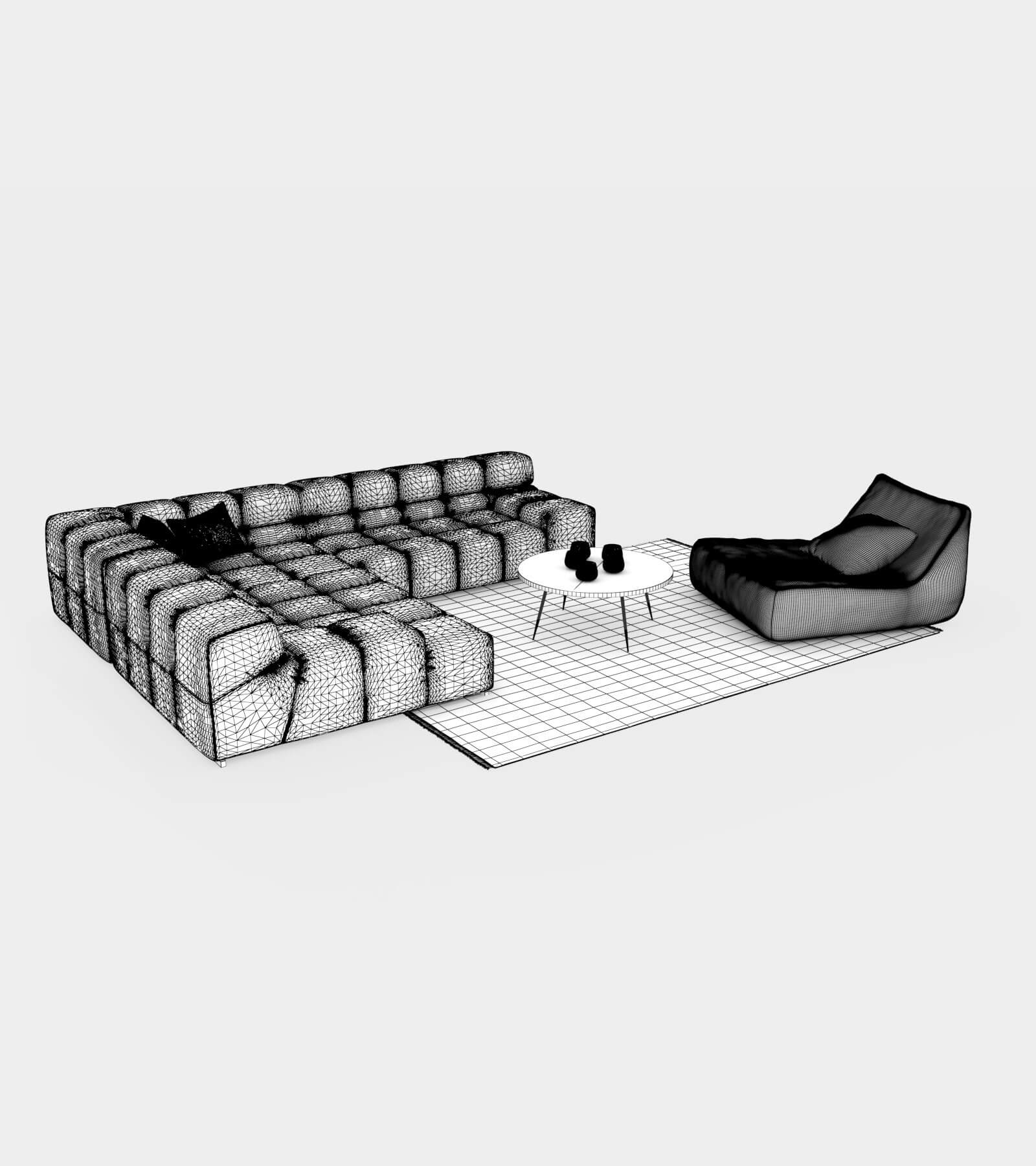 Living room couch set-wire-2-2 3 D Model