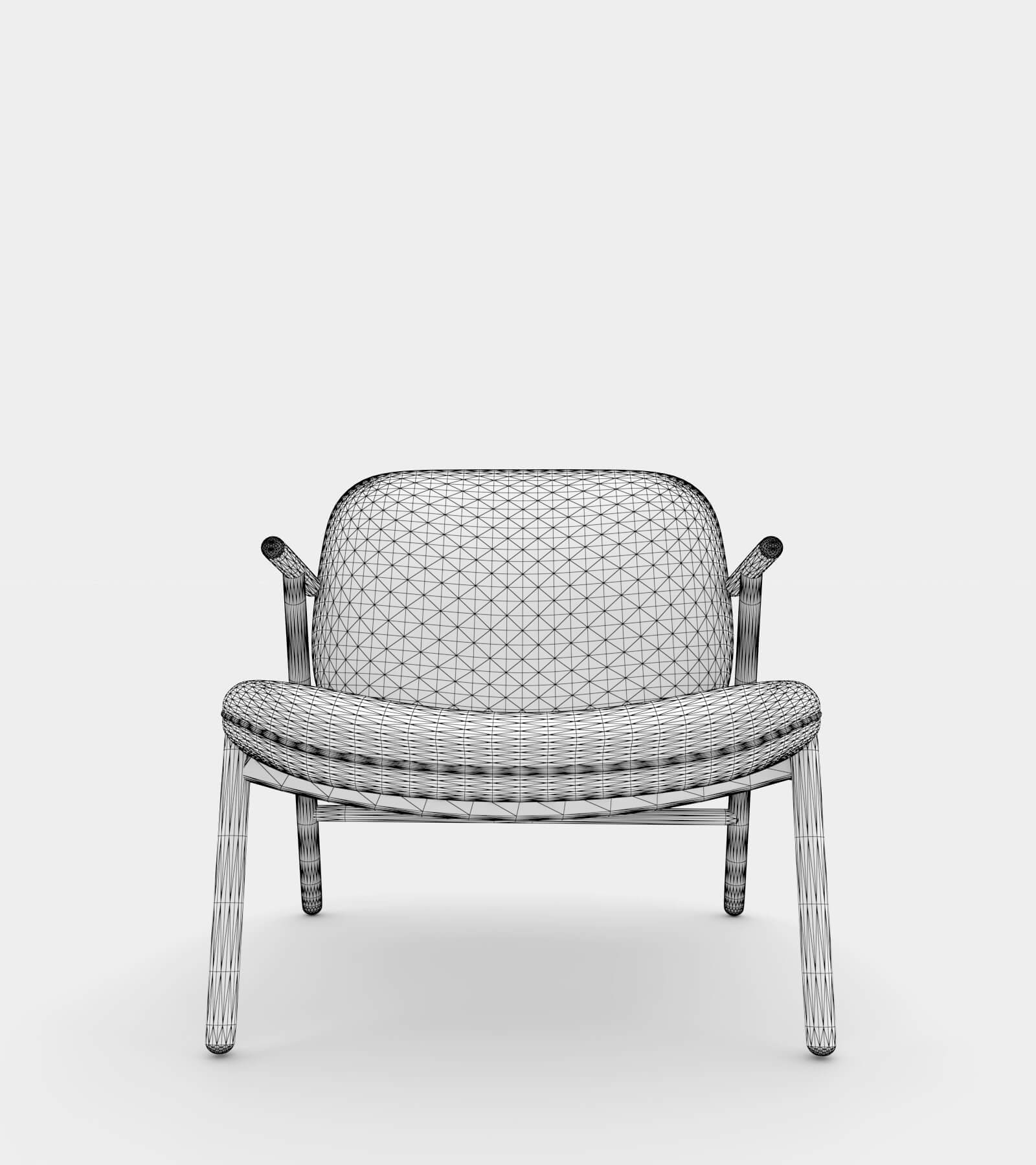 Lounge seater-wire-2 3D Model
