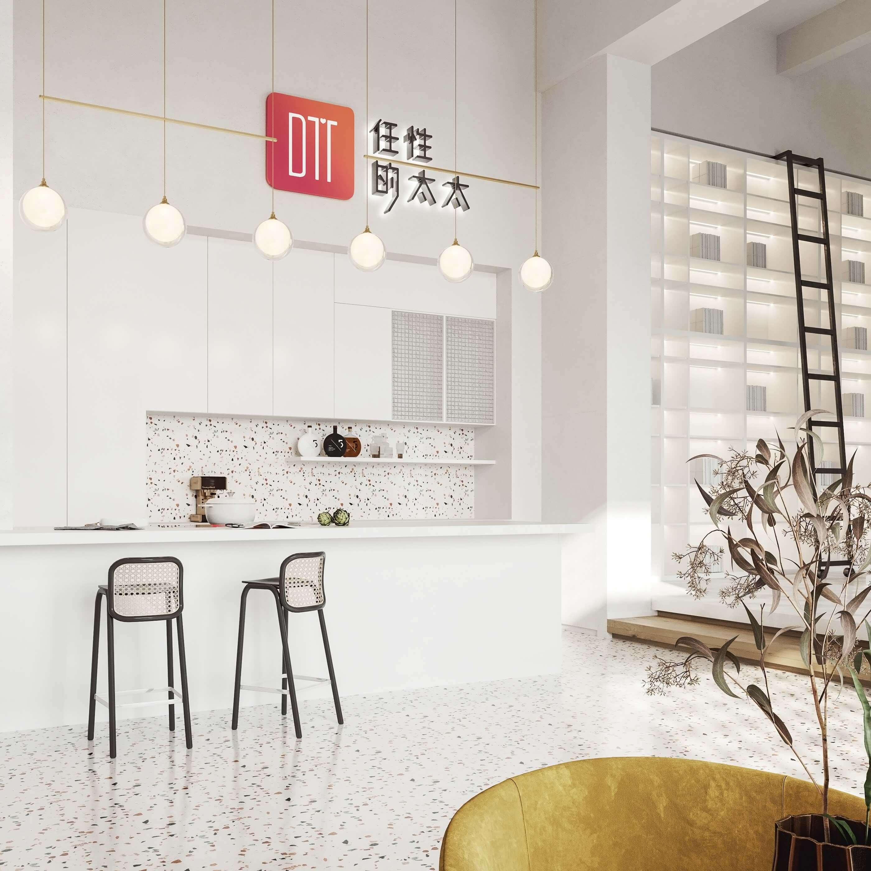 Modern bar restaurant design bar stool - cgi visualization