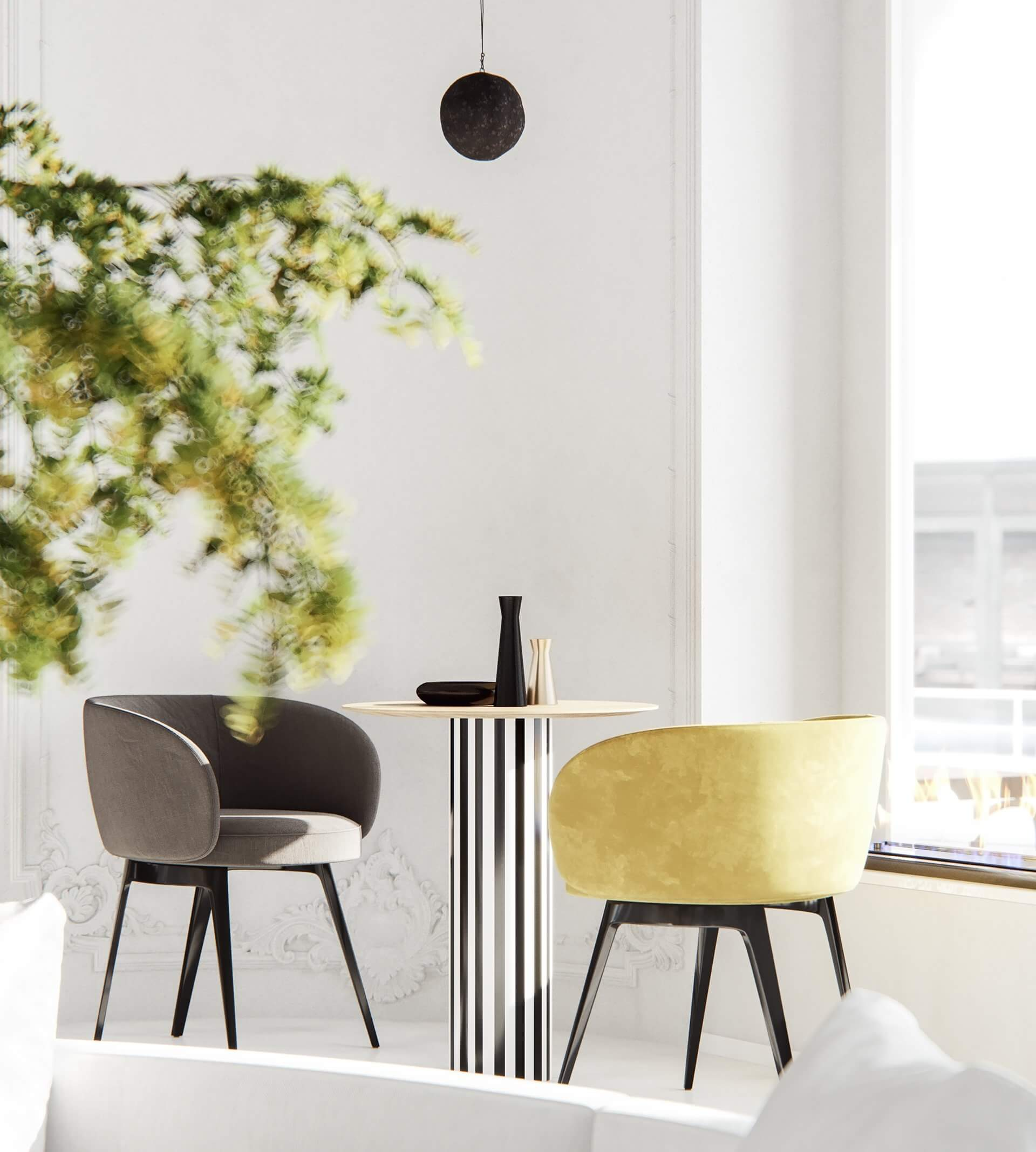 Modern bar restaurant design chair table - cgi visualization