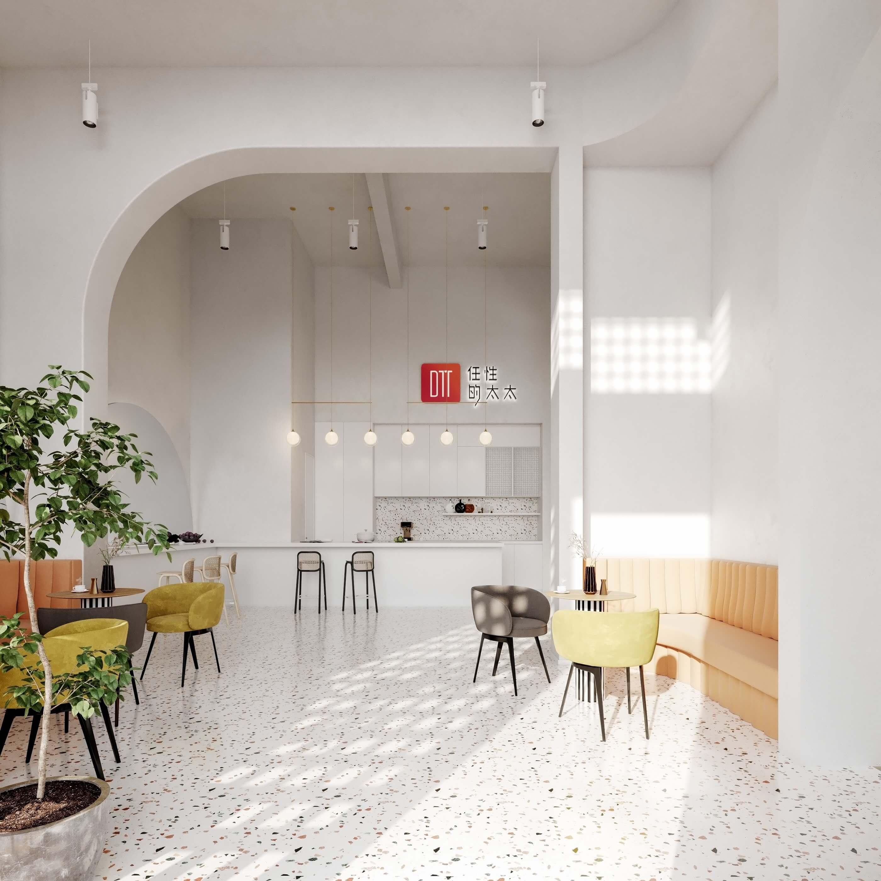Modern bar restaurant design cozy area - cgi visualization