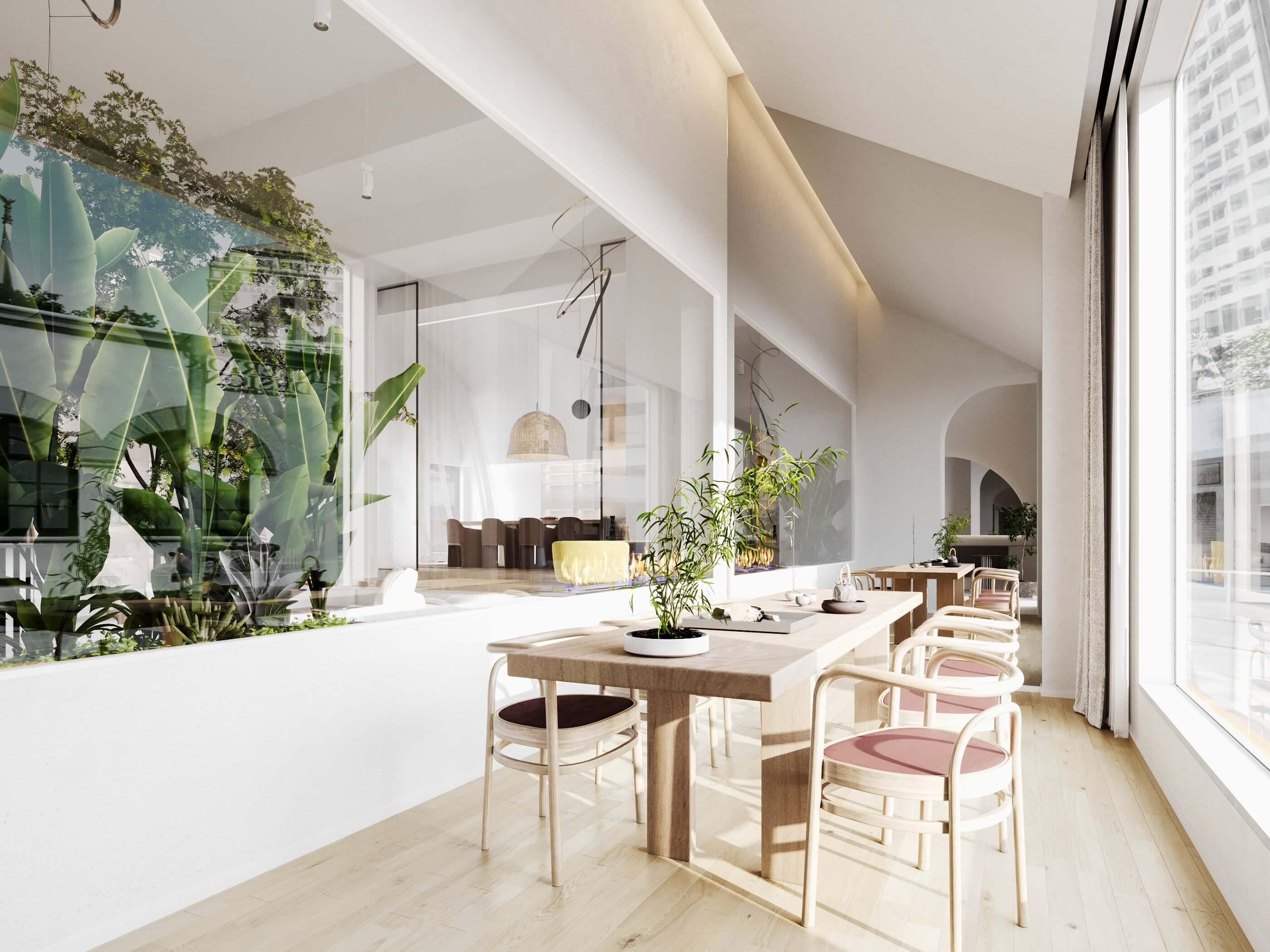 Modern bar restaurant design dining area - cgi visualization