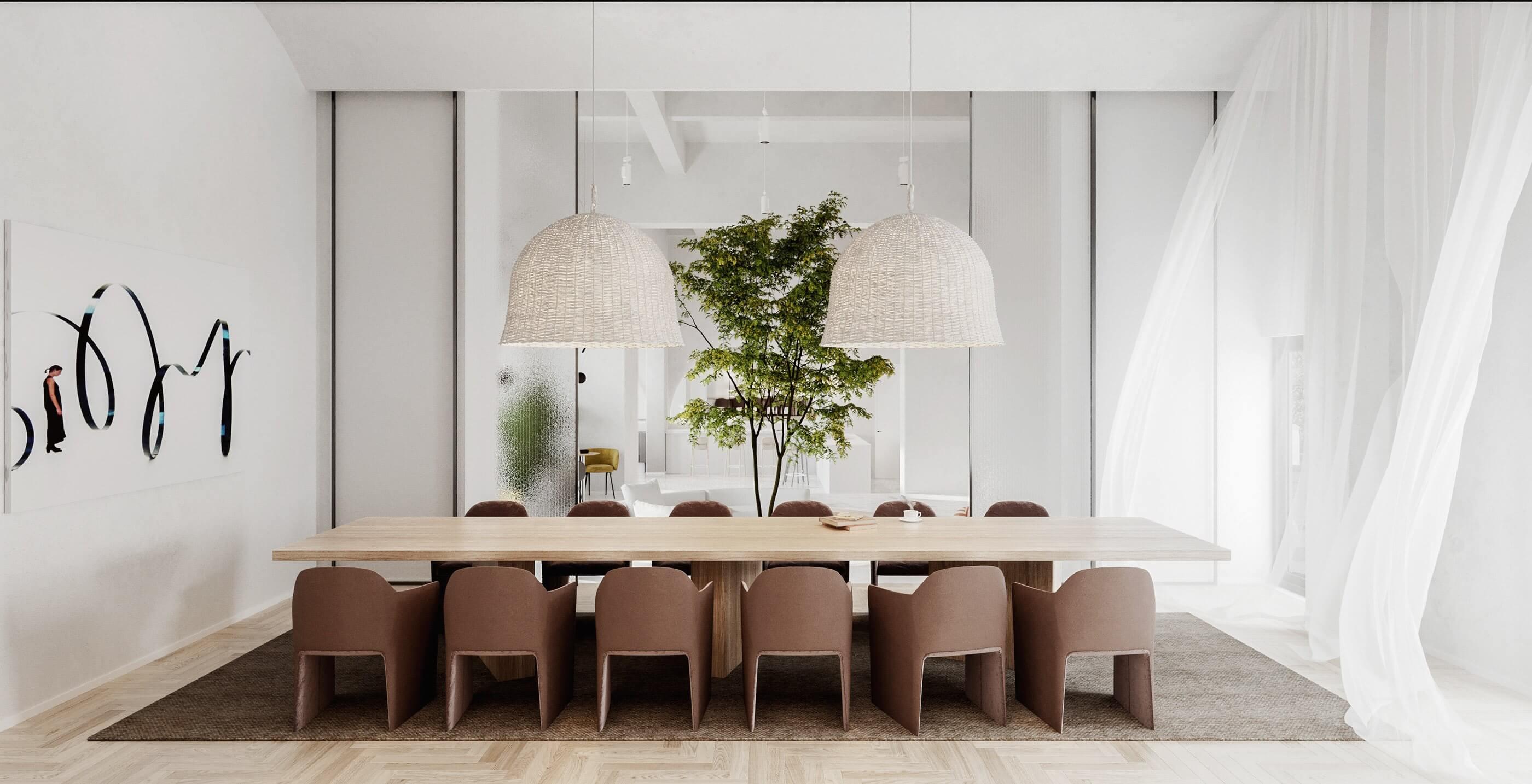Modern bar restaurant design dining area wood table - cgi visualization