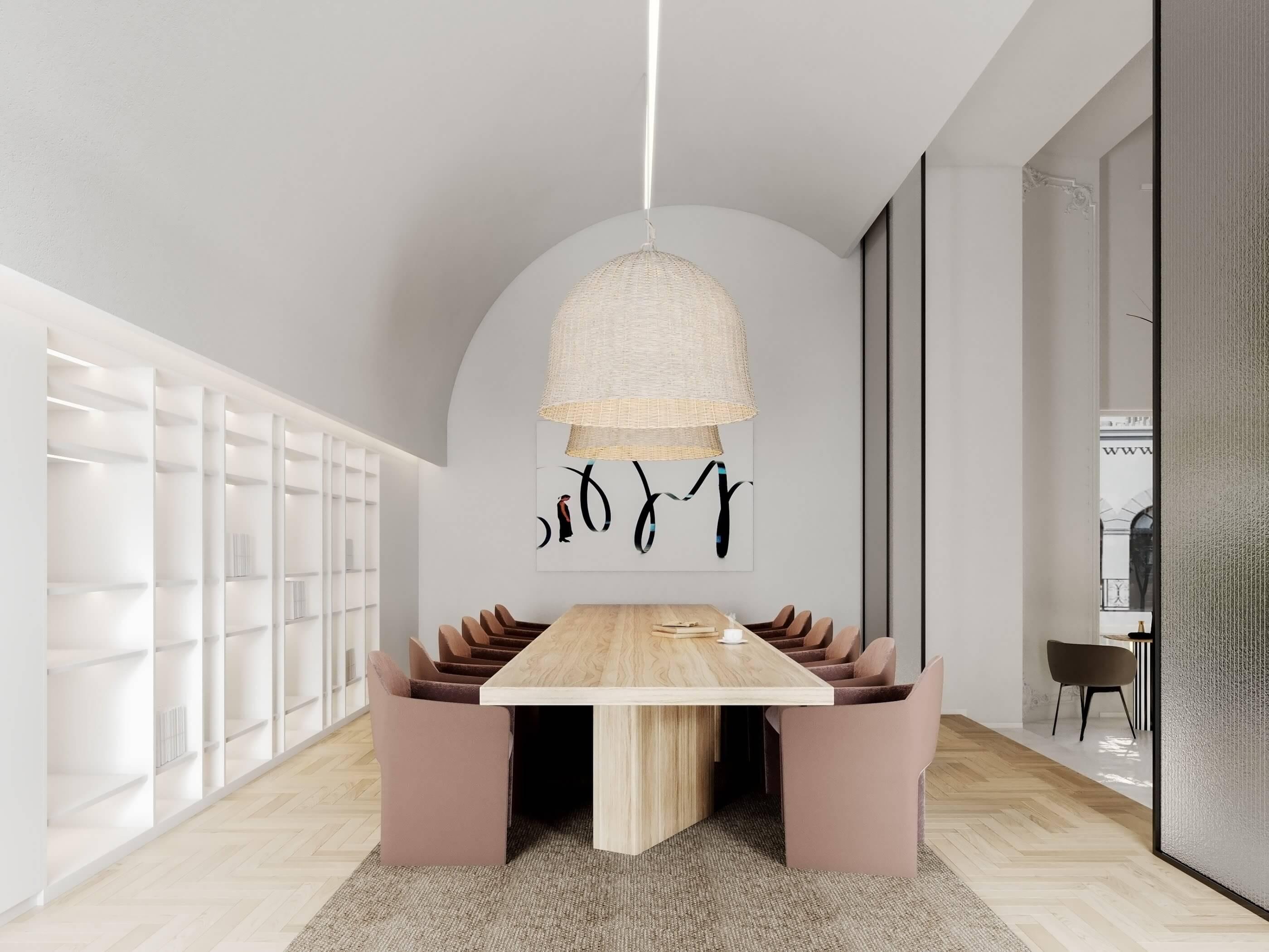 Modern bar restaurant design dining area wood table chair - cgi visualization