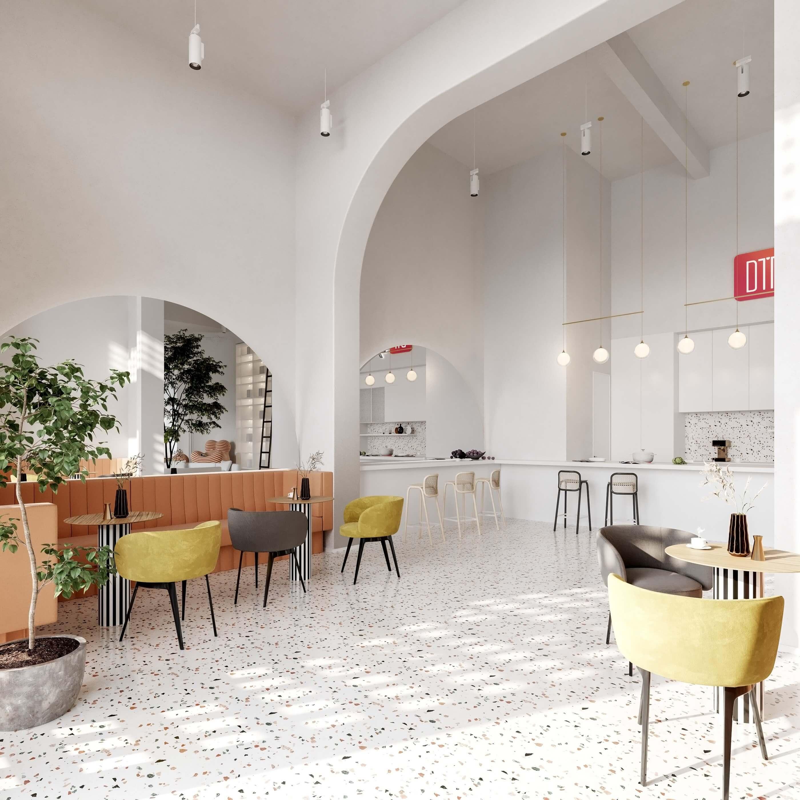Modern bar restaurant design idea - cgi visualization