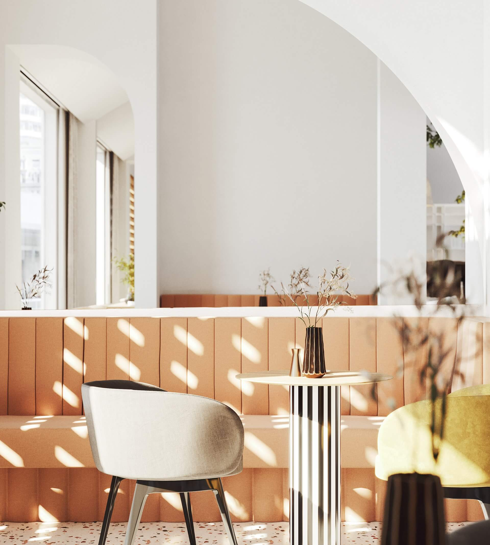 Modern bar restaurant design lounge fabric - cgi visualization