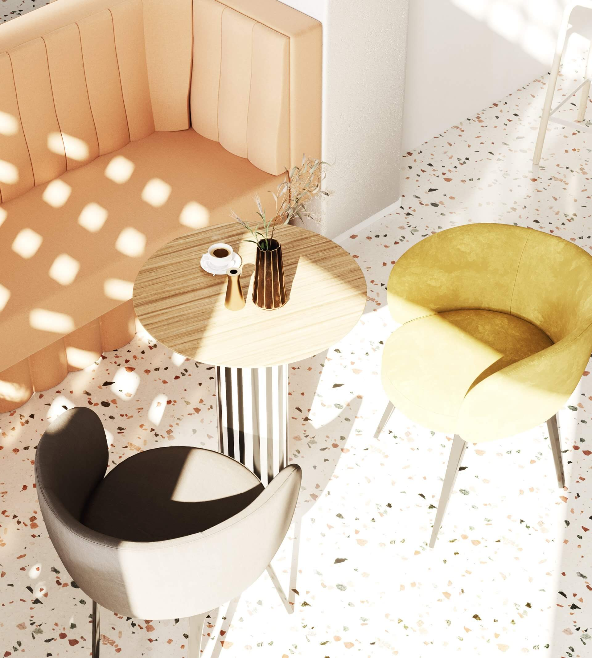 Modern bar restaurant design lounge wood table - cgi visualization