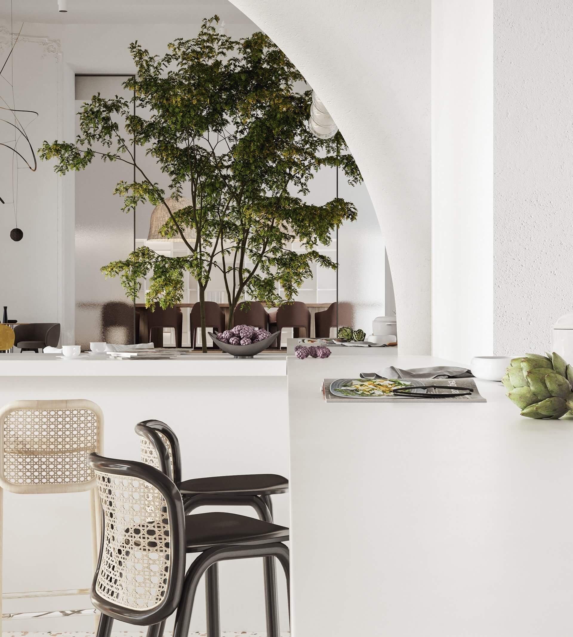 Modern bar restaurant design plants - cgi visualization
