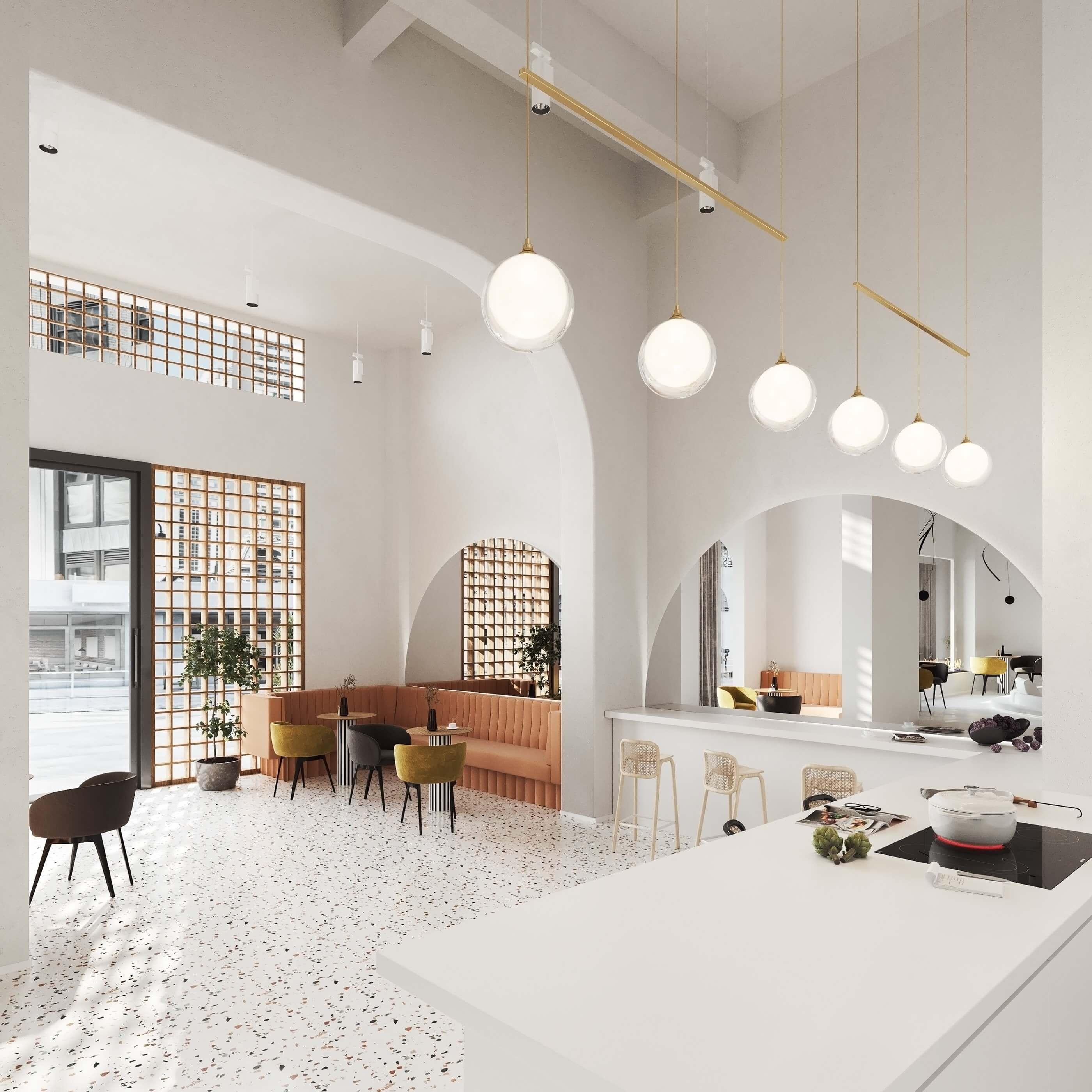 Modern bar restaurant design space - cgi visualization
