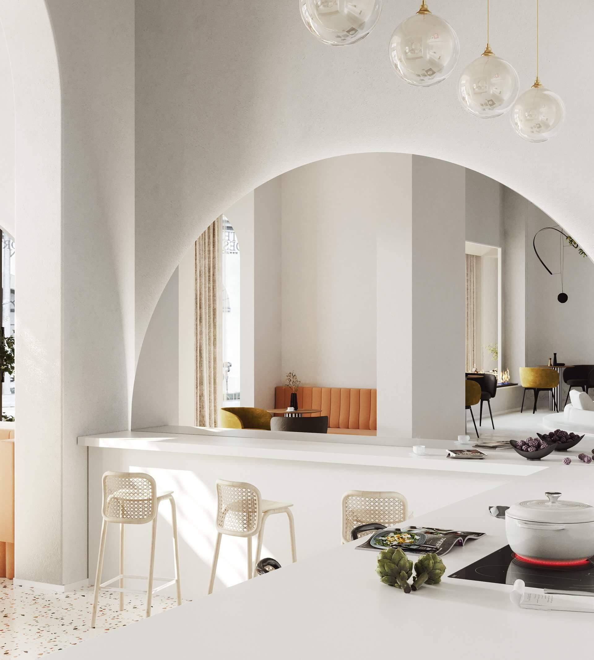 Modern bar restaurant design white - cgi visualization
