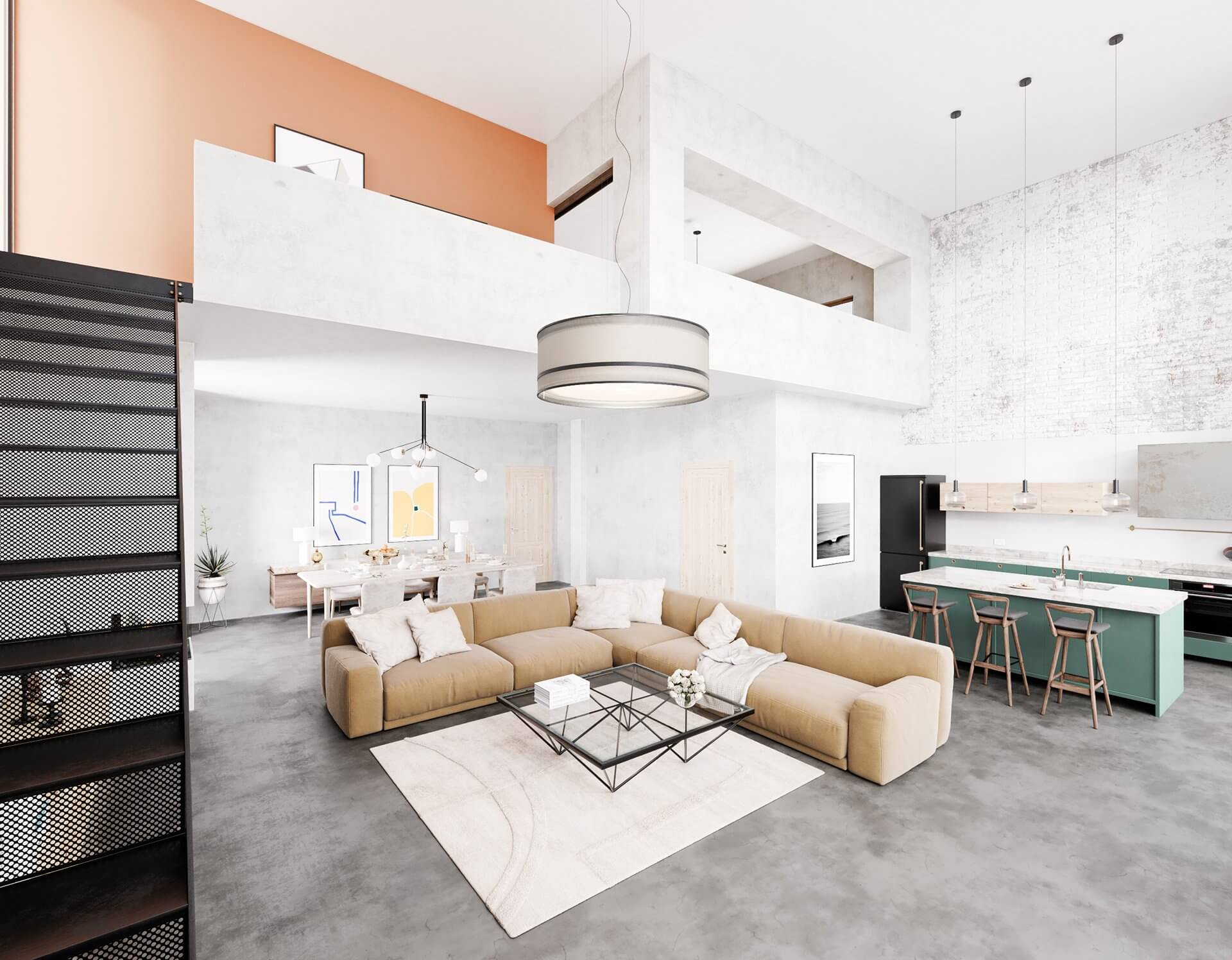 Sin-cinnati living room dining room kitchen design