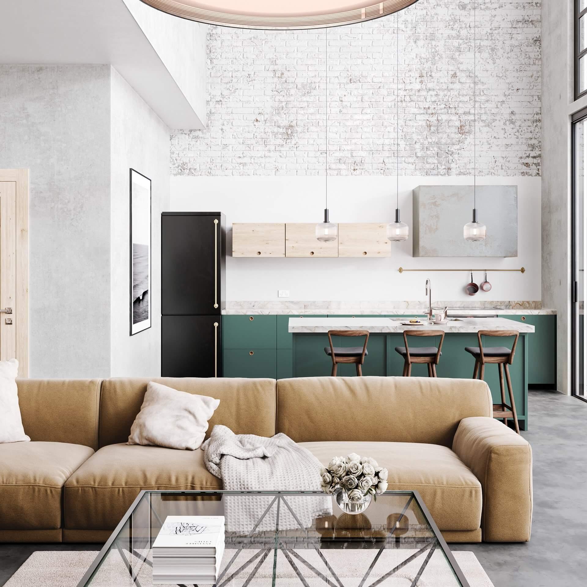 Sin-cinnati living room yellow couch green kitchen