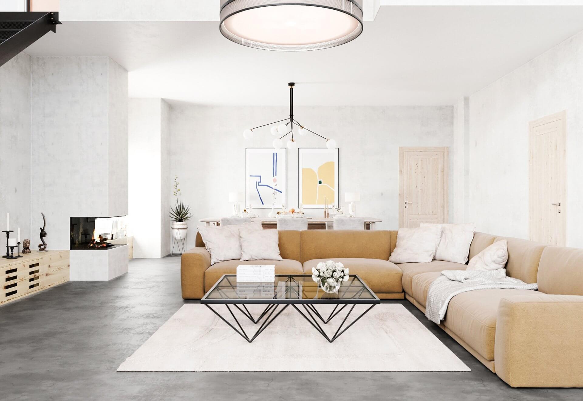 Sin-cinnati living room yellow sofa fire place