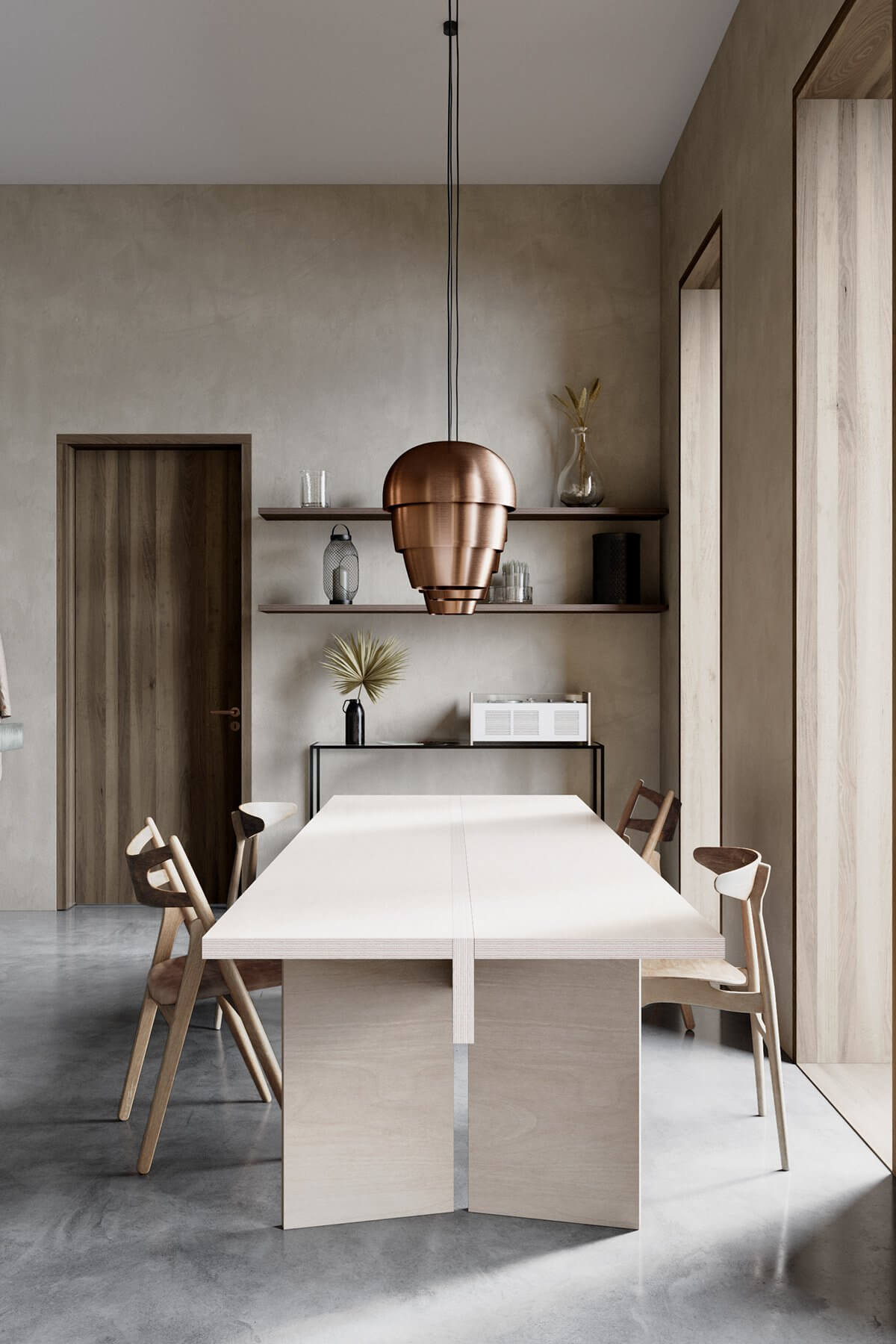 Studio Apartment in Berlin Kreuzberg-dining-room-wood-table