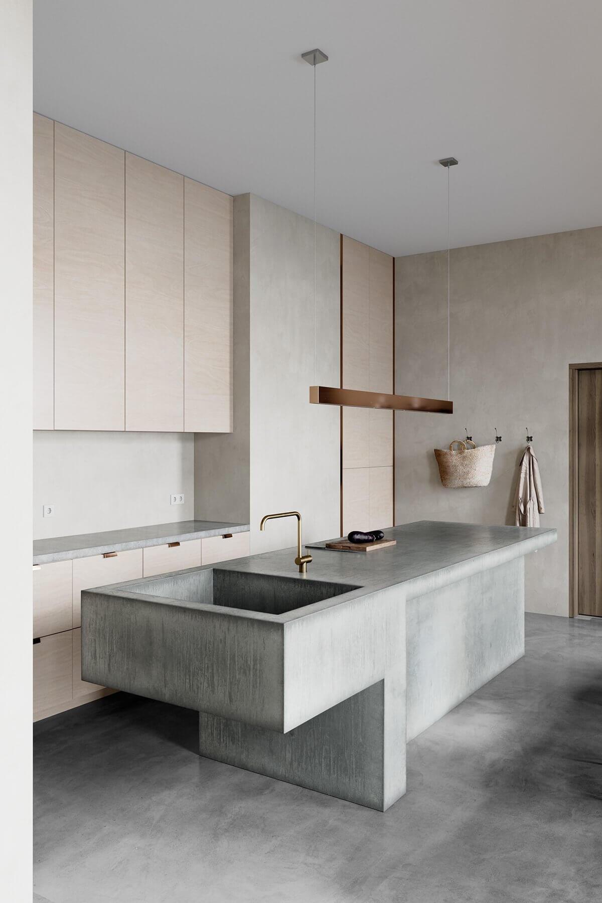 Studio Apartment in Berlin Kreuzberg-kitchen-block-concrete