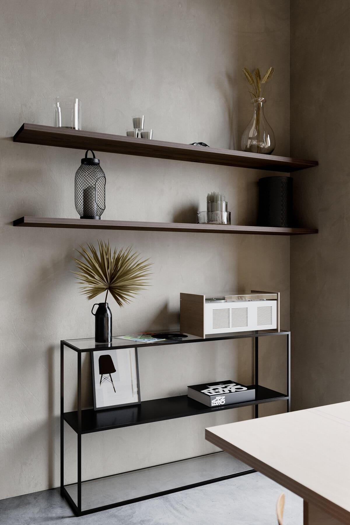 Studio Apartment in Berlin Kreuzberg-living-room-wood-shelve