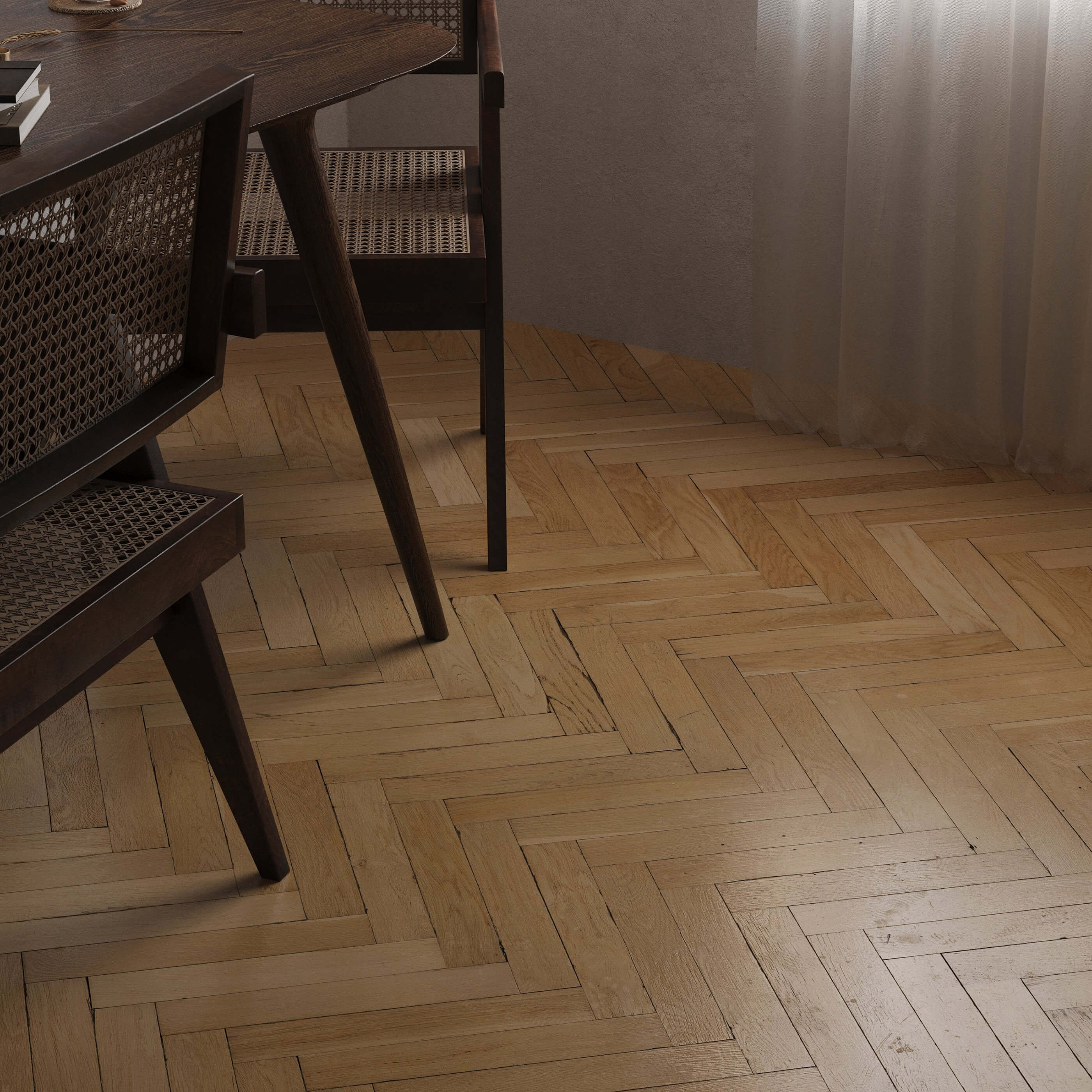 Sunset shoot wood oak floor - cgi visualization