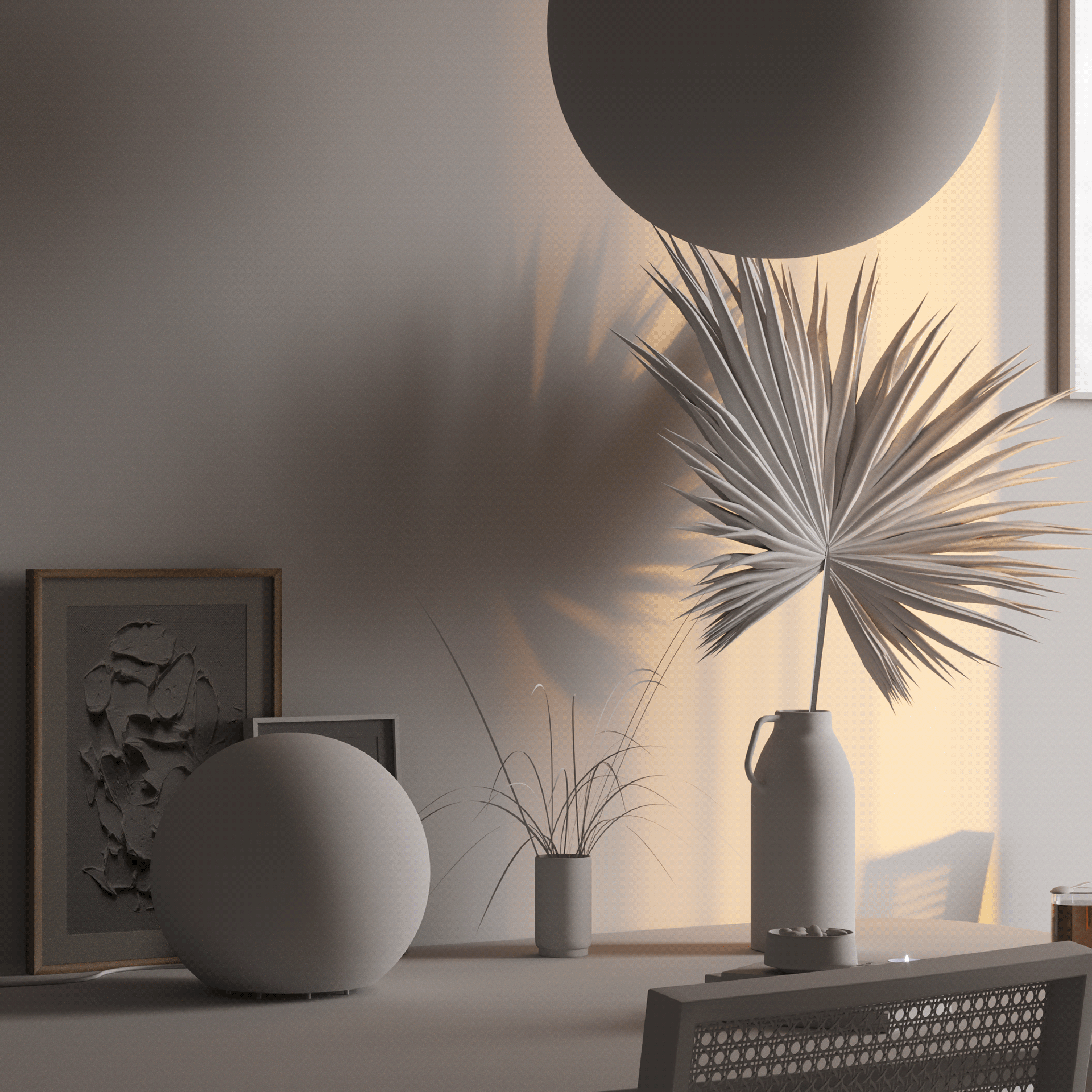 Sunset shoot wood table plants shadow - cgi visualization