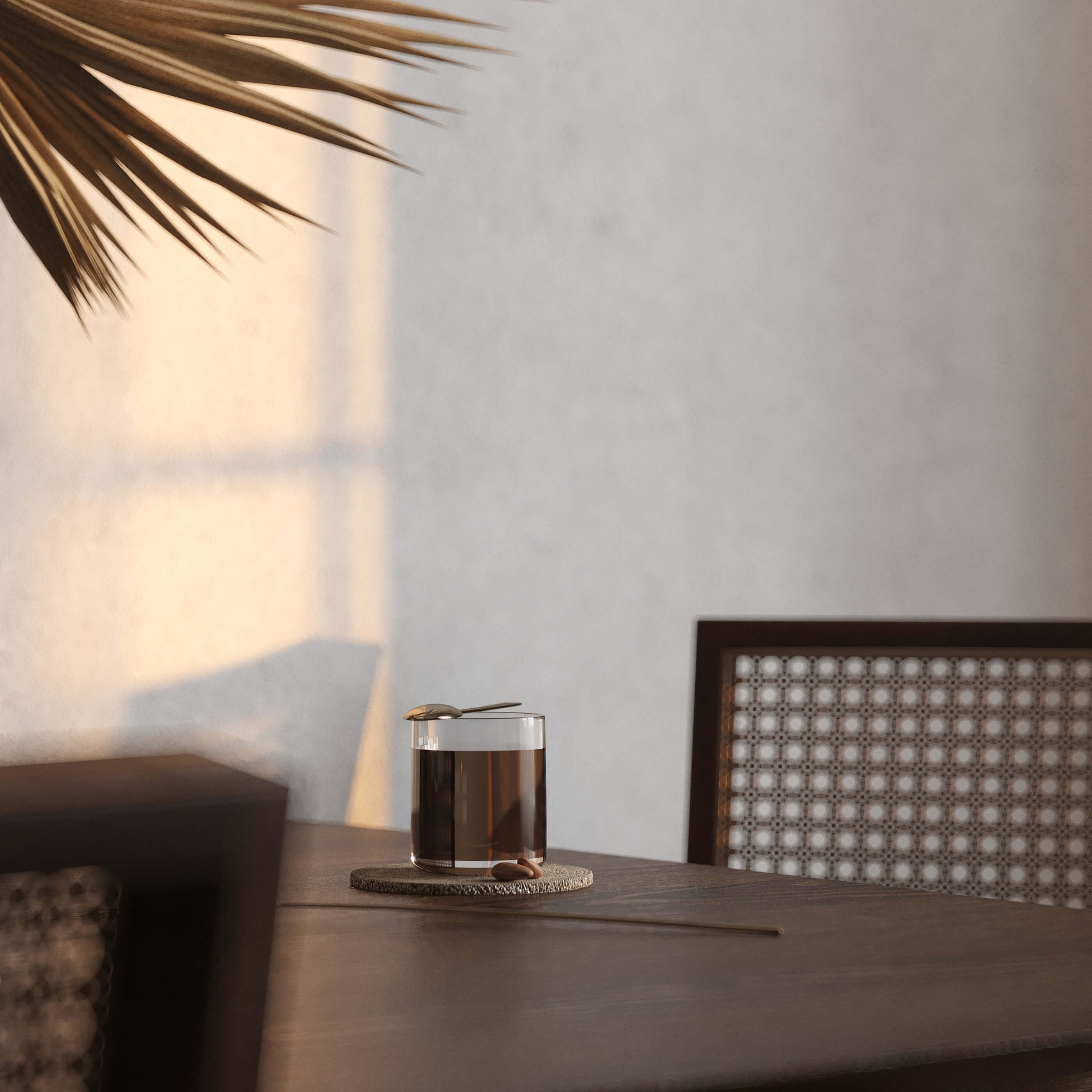 Sunset shoot wood table tea - cgi visualization
