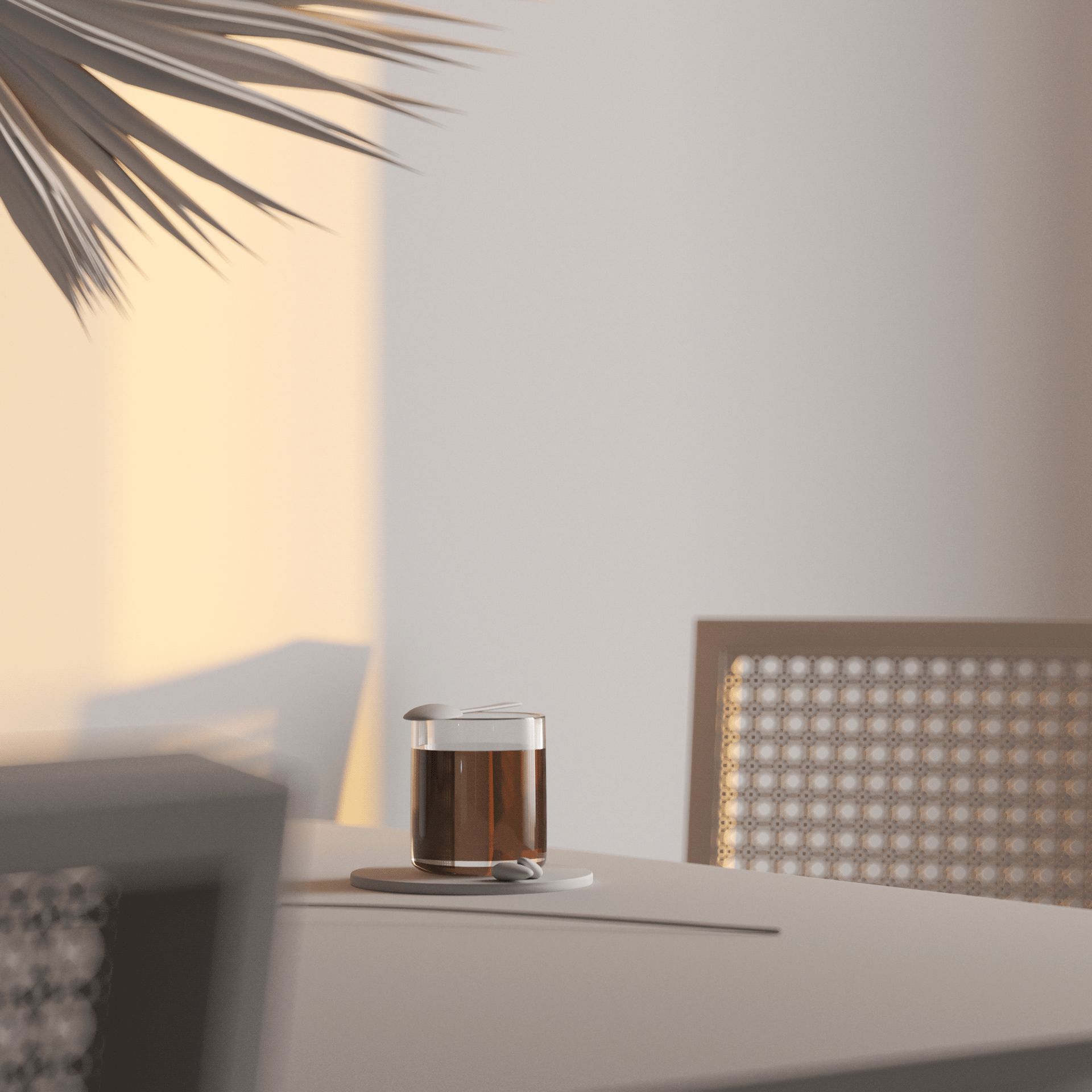 Sunset shoot wood table tea shadow - cgi visualization