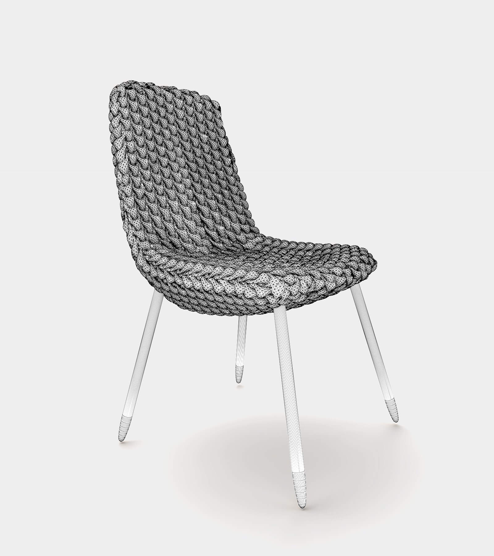 Fabric dining chair-1-wire - 3D model